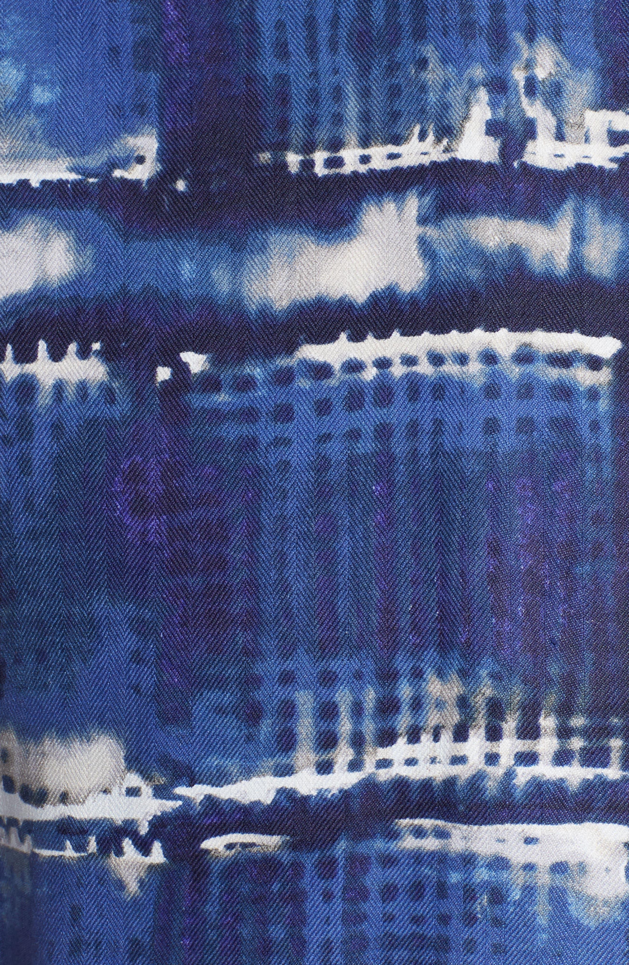 Tie Dye For Silk Camp Shirt,                             Alternate thumbnail 5, color,                             BLUE JEAN