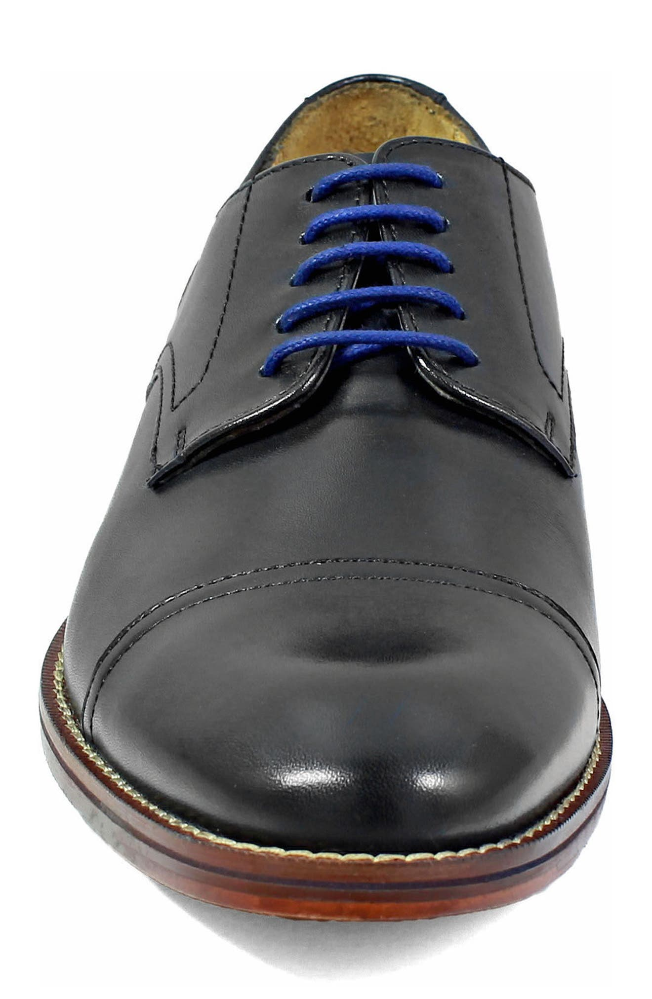 Salerno Cap Toe Derby,                             Alternate thumbnail 4, color,                             BLACK LEATHER
