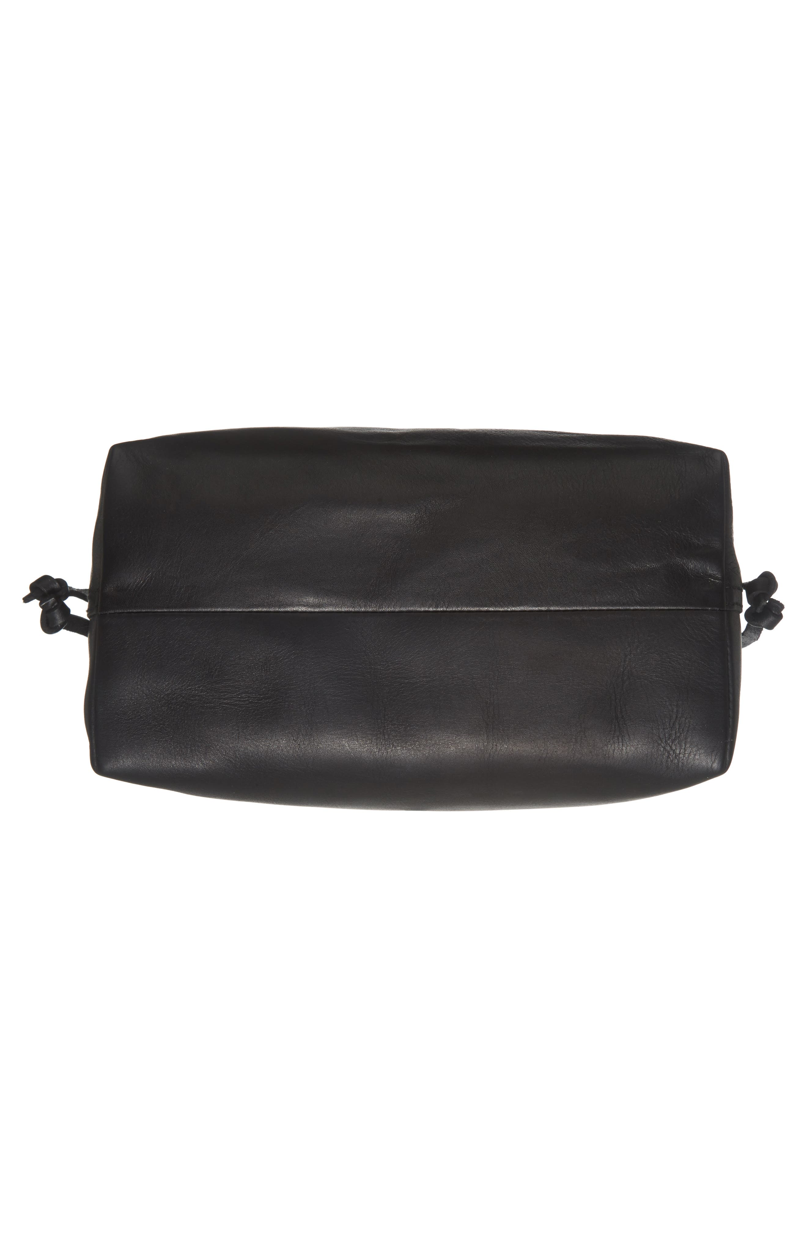 Medium Drawstring Transport Leather Tote,                             Alternate thumbnail 6, color,                             TRUE BLACK