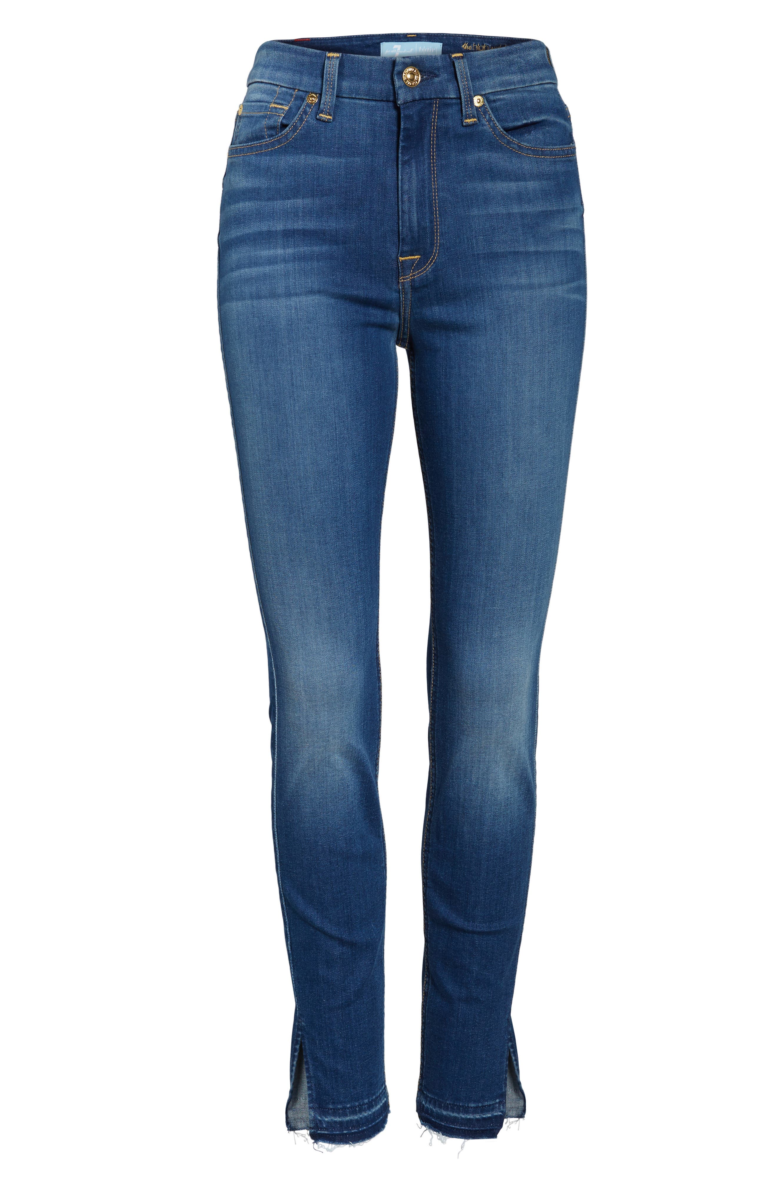 b(air) High Waist Split Hem Skinny Jeans,                             Alternate thumbnail 6, color,                             400