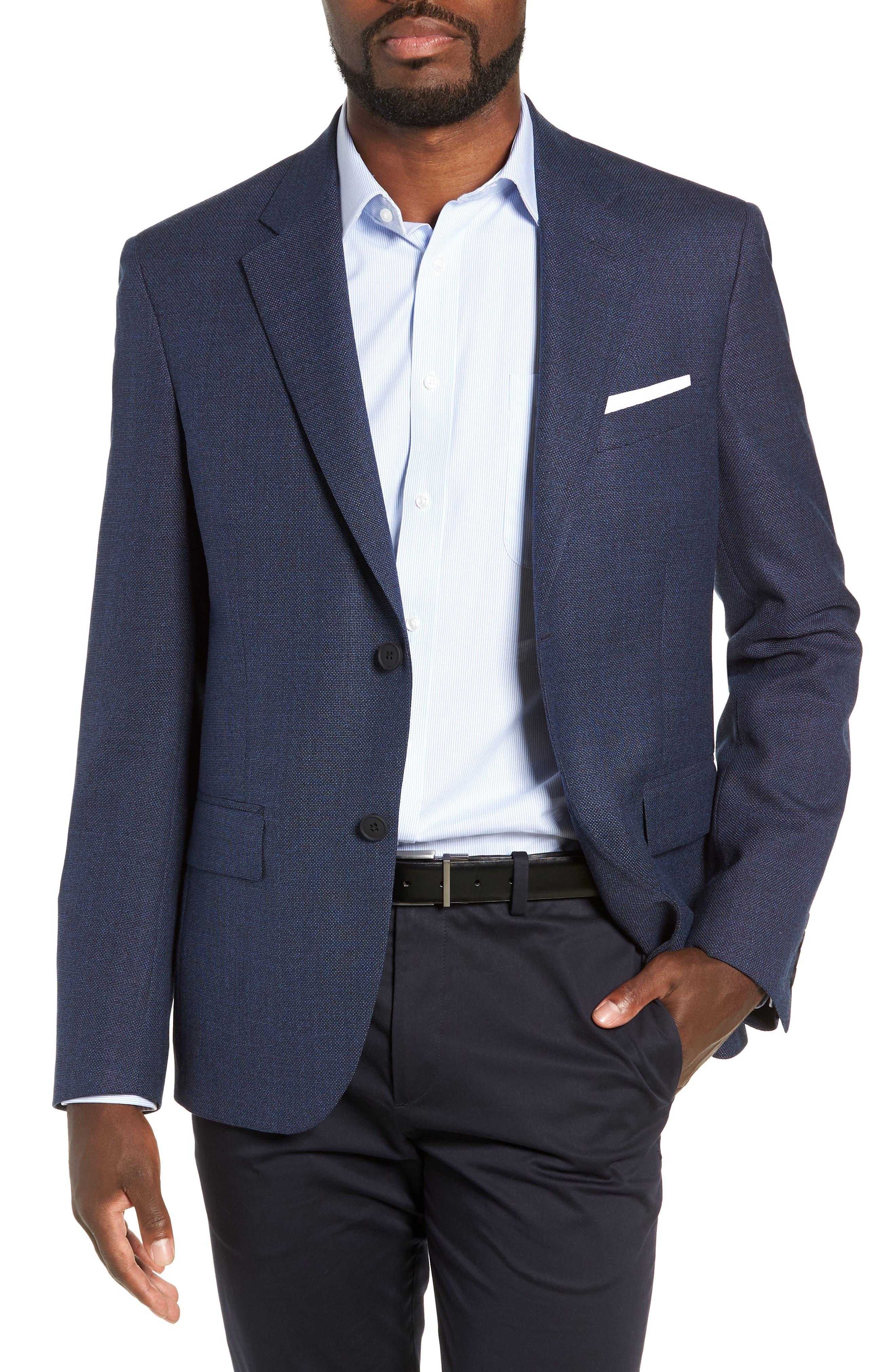 Trim Fit Crosshatched Wool Sport Coat,                         Main,                         color, 415