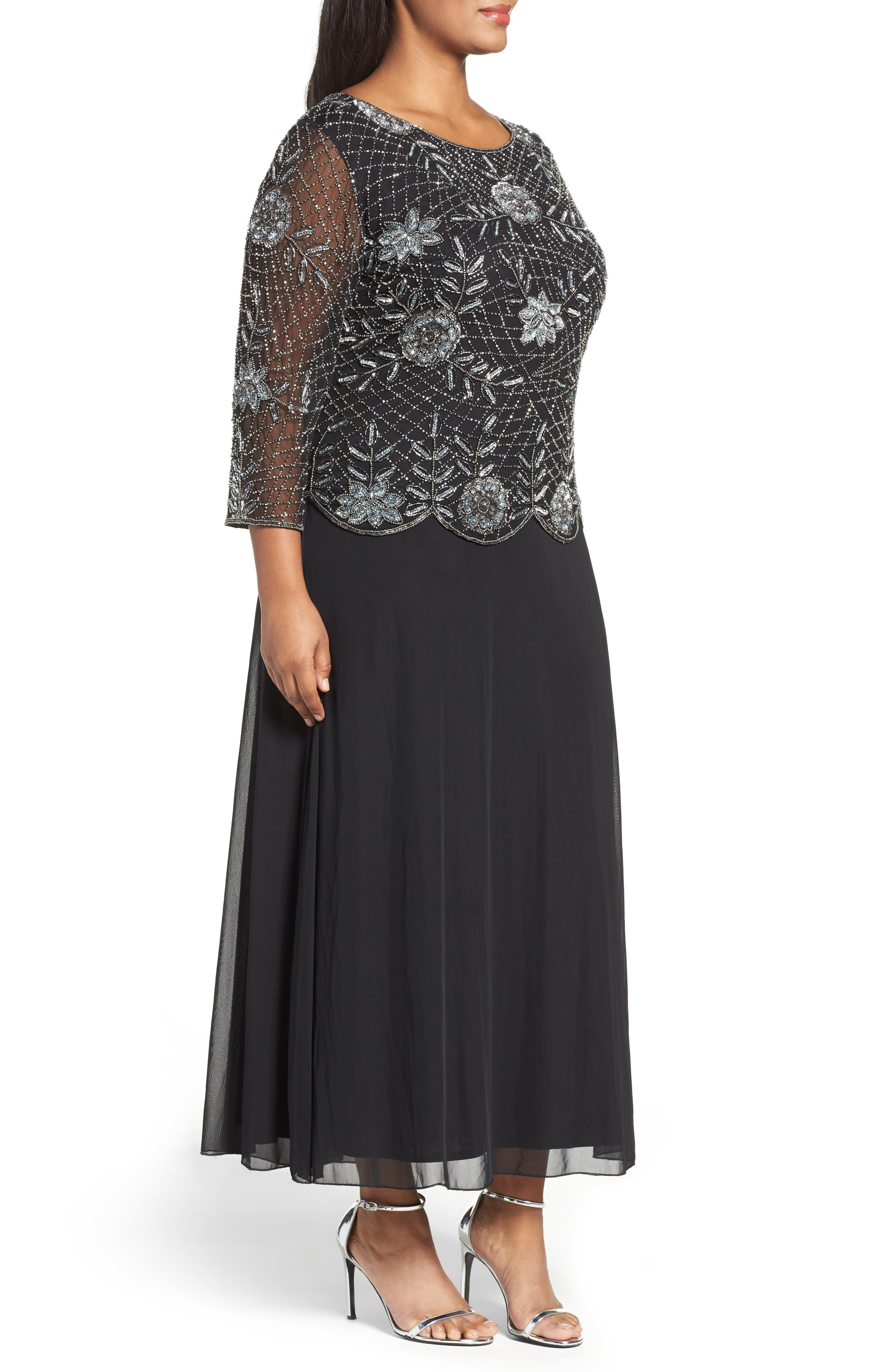 Embellished Mock Two-Piece Long Dress,                             Alternate thumbnail 4, color,                             013