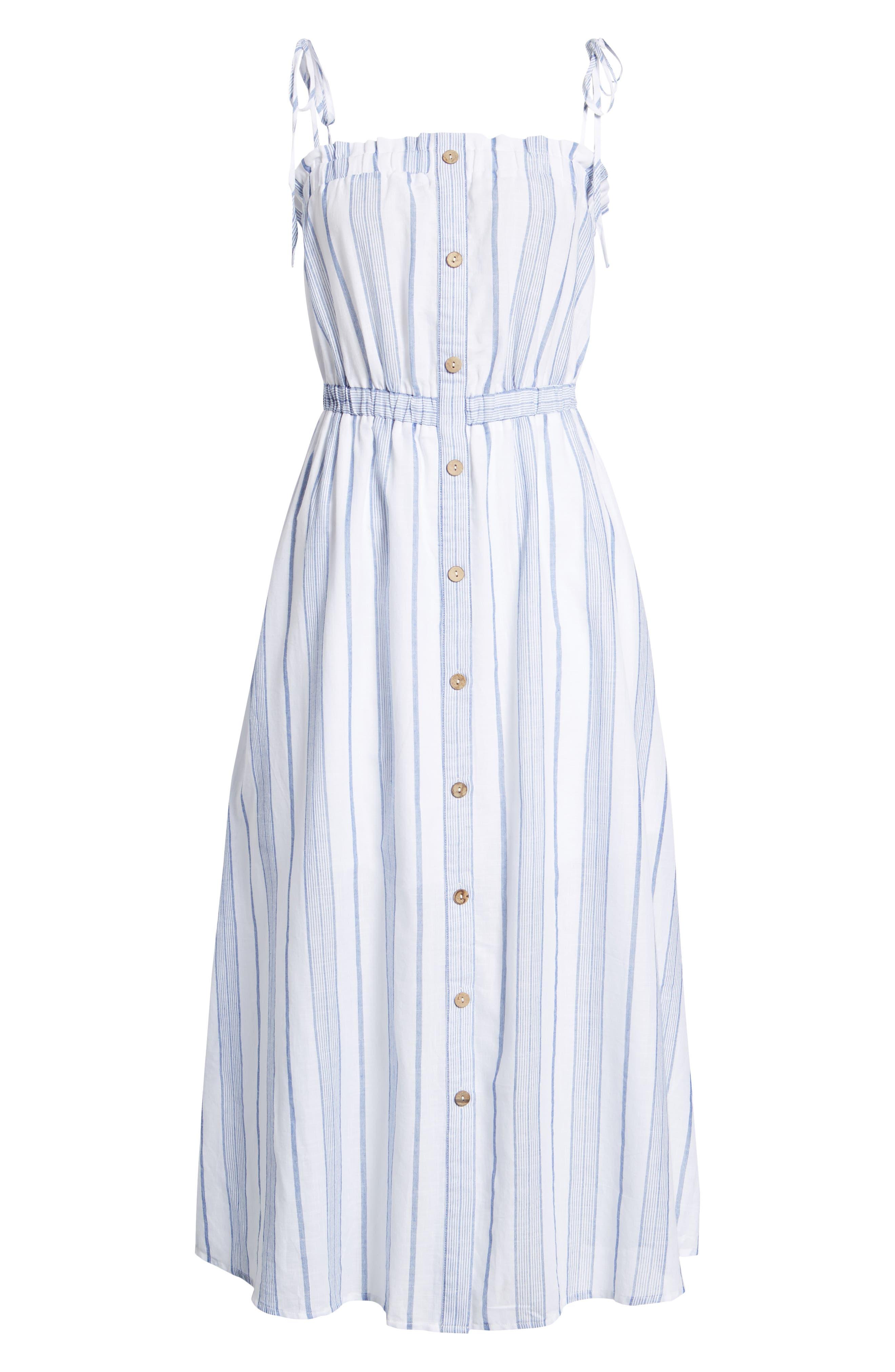 Stripe Tie Strap Dress,                             Alternate thumbnail 7, color,                             SKY STRIPE