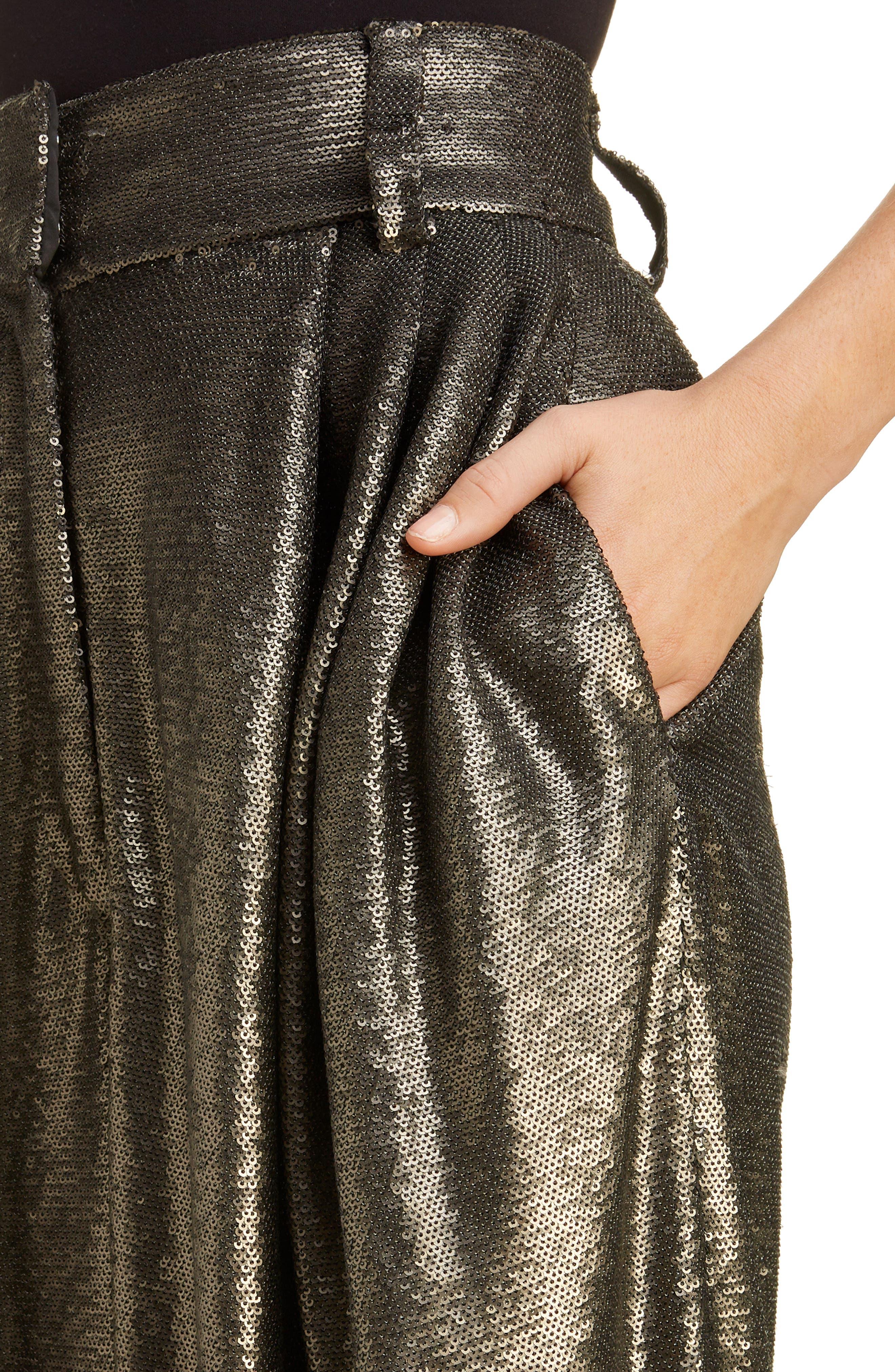 High Waist Wide Leg Sequin Pants,                             Alternate thumbnail 4, color,                             GREY