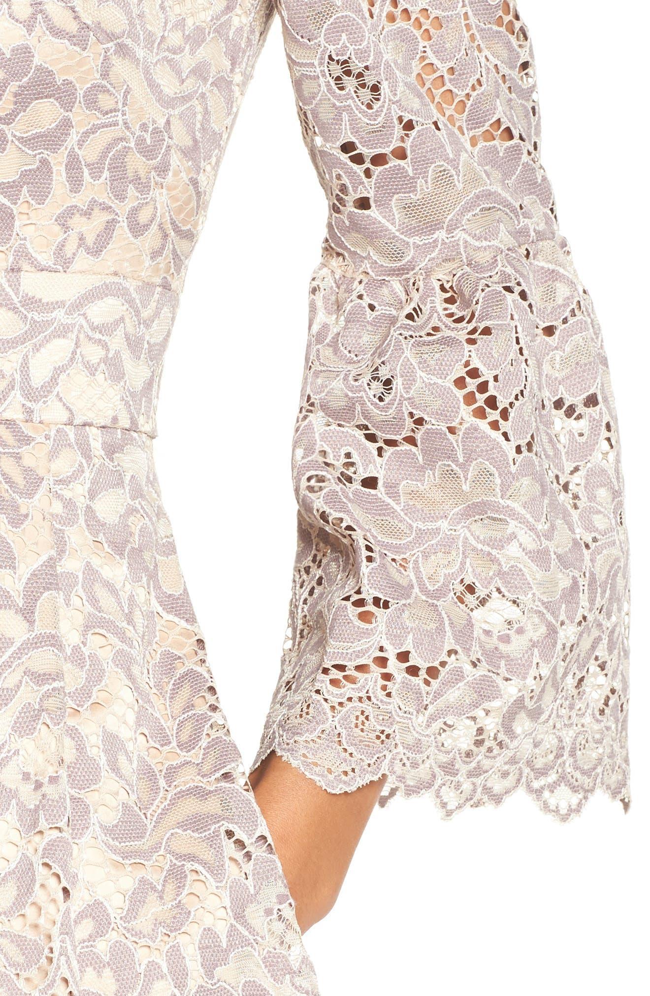 Lace Fit & Flare Dress,                             Alternate thumbnail 5, color,                             030