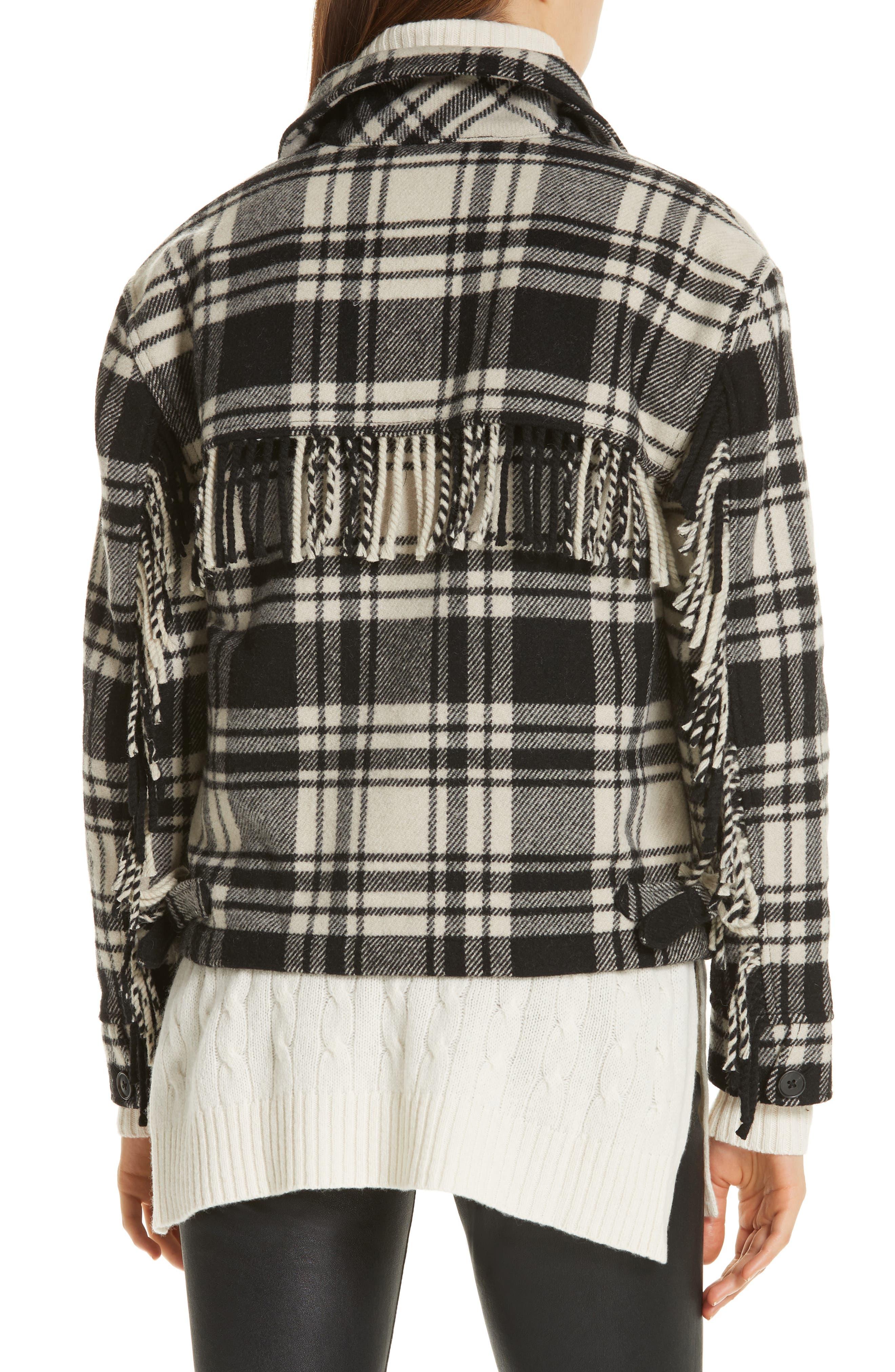 Wool Blend Plaid Jacket,                             Alternate thumbnail 2, color,                             BLACK/ CREAM