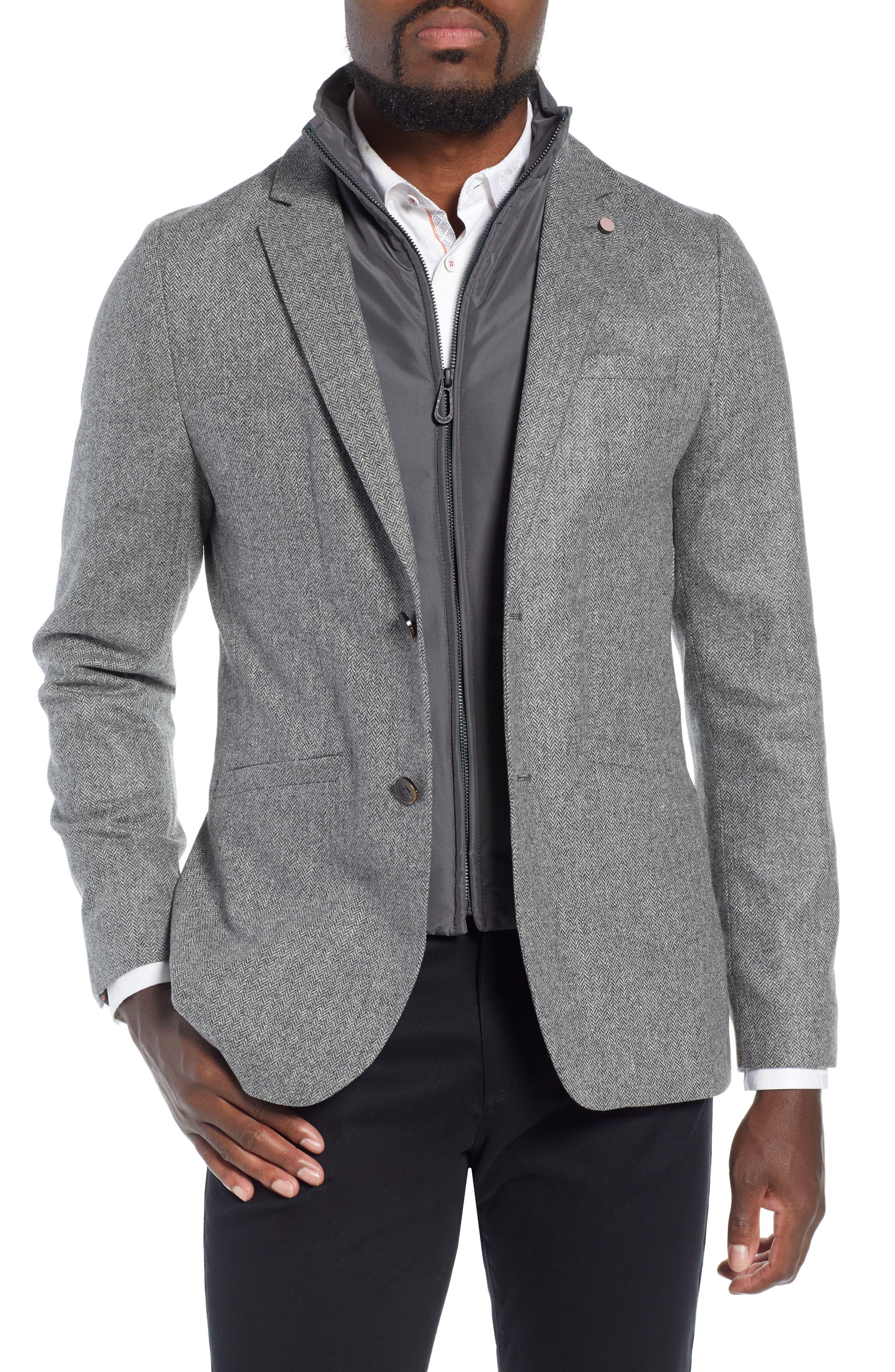 Dual Look Herringbone Jacket,                             Main thumbnail 1, color,                             LIGHT GREY