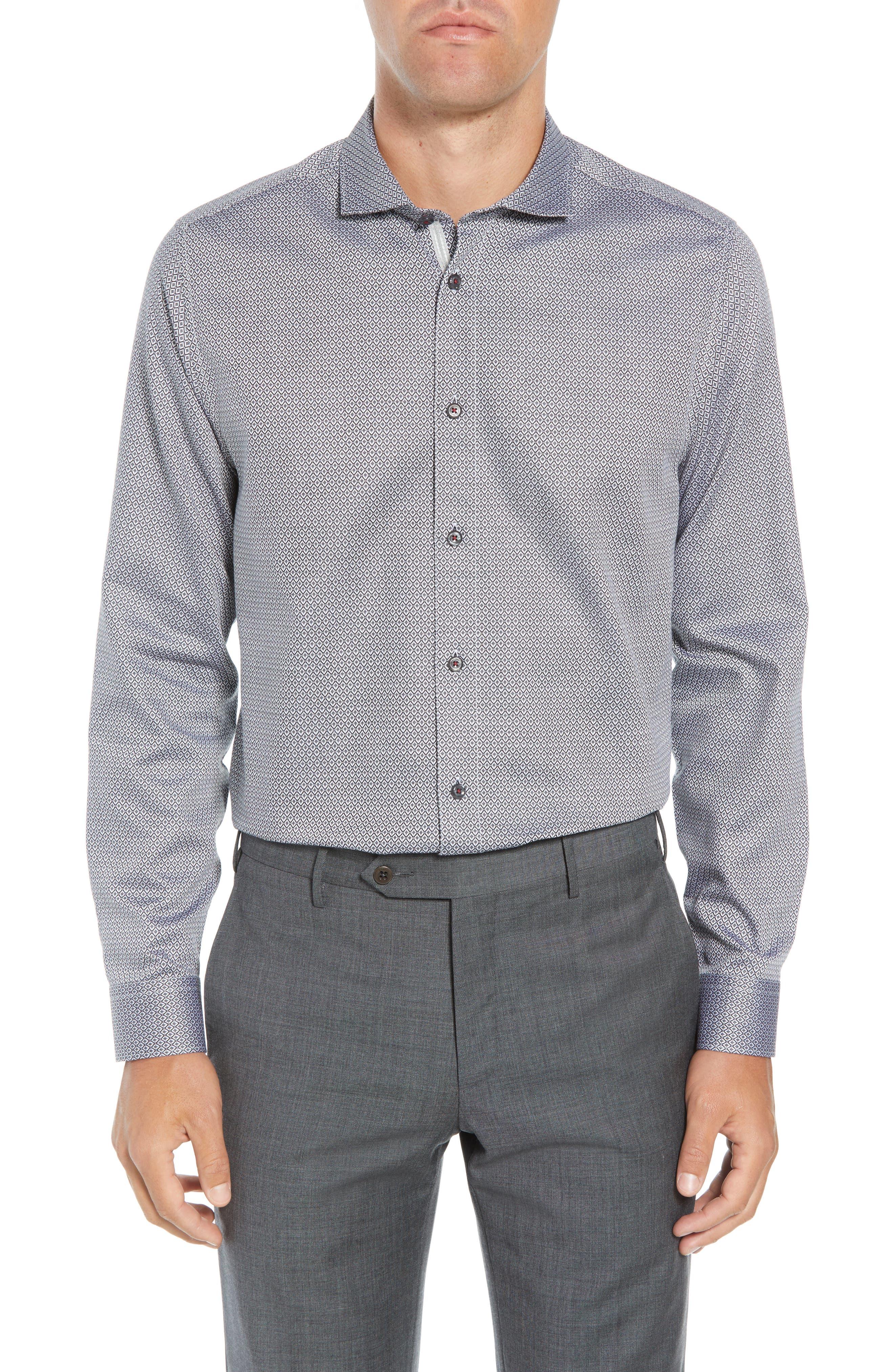 Brocco Modern Fit Geometric Dress Shirt,                             Main thumbnail 1, color,                             BLACK