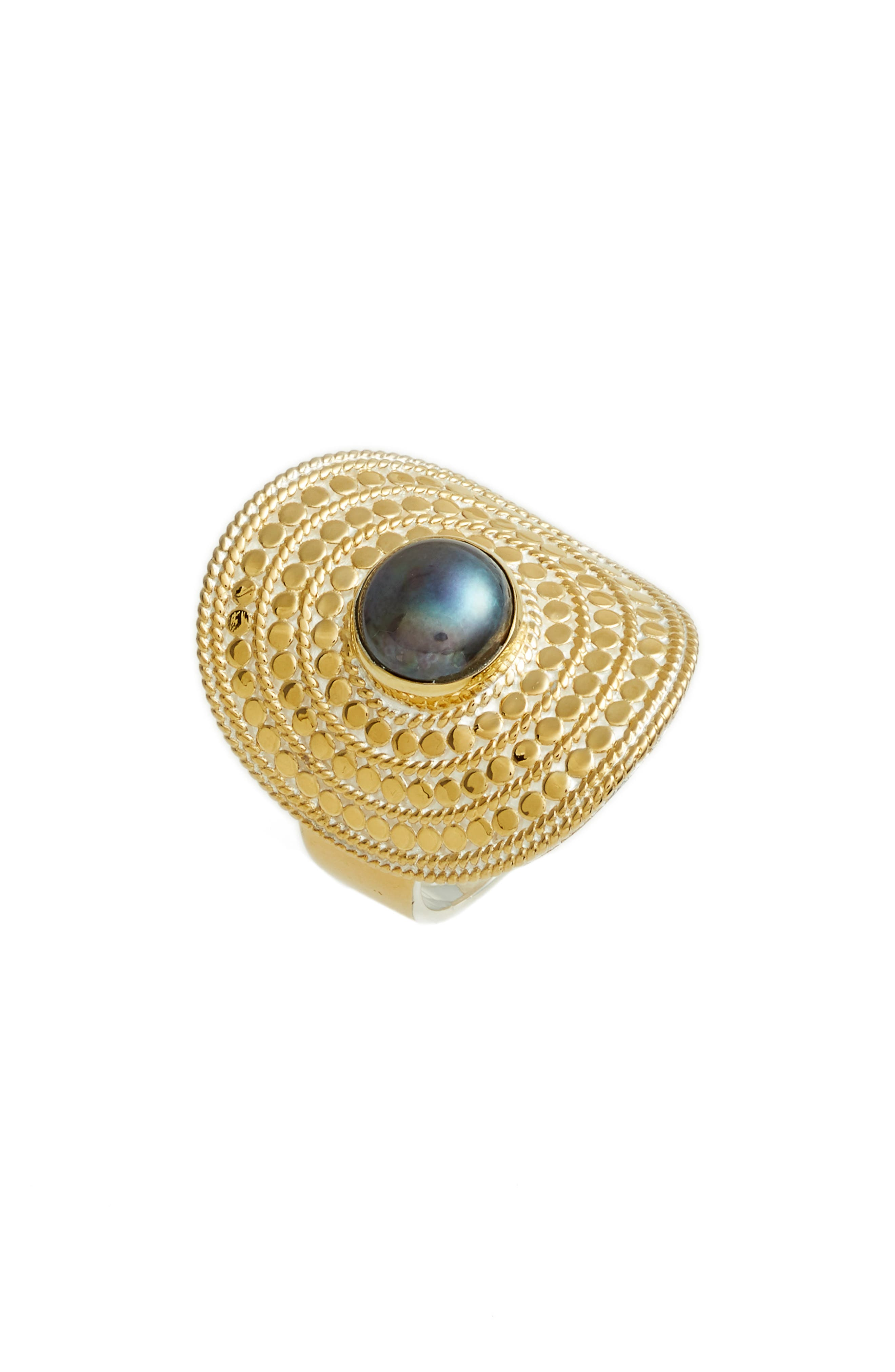 Genuine Blue Pearl Shield Ring,                         Main,                         color, GOLD/ BLUE PEARL