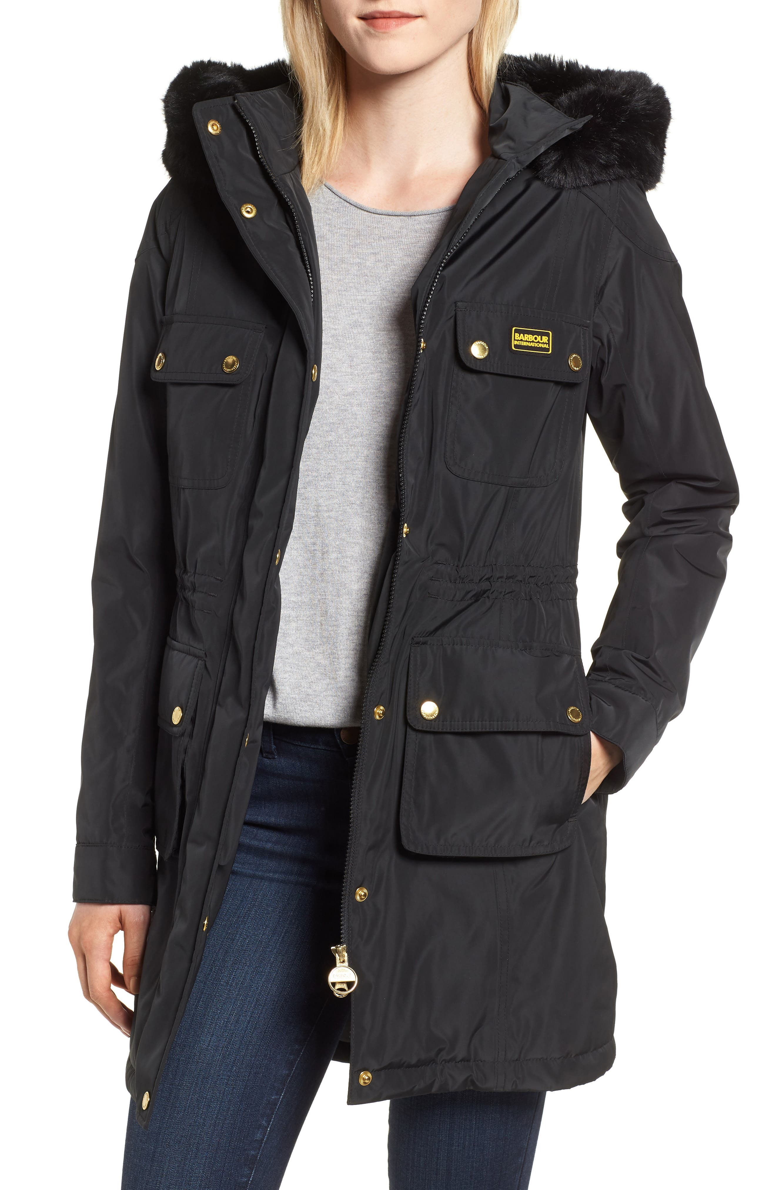 Barbour Imatra Waterproof Jacket With Faux Fur Trim, US / 8 UK - Black