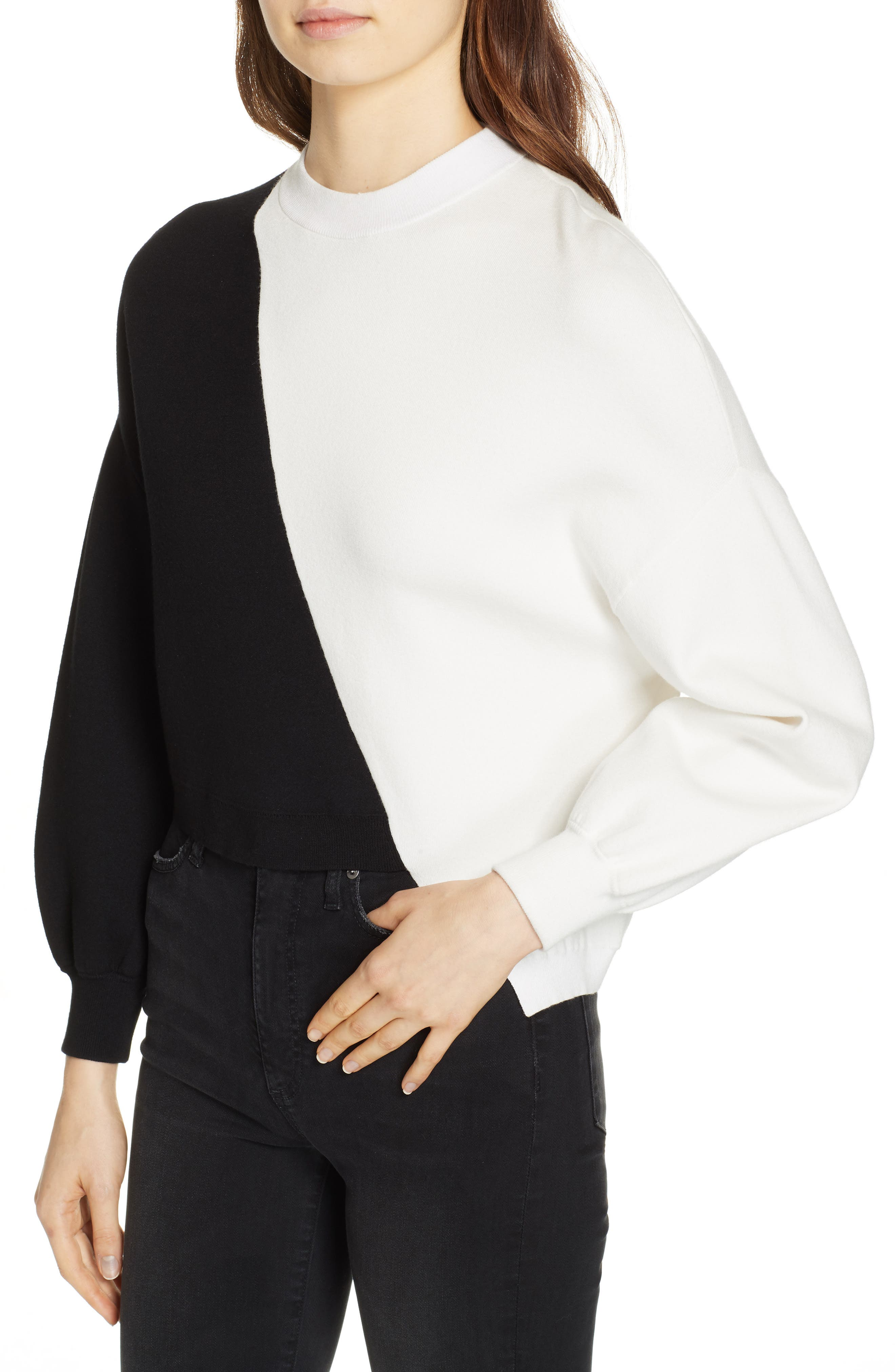 Elyse Asymmetrical Crop Pullover,                             Alternate thumbnail 4, color,                             BLACK/ WHITE