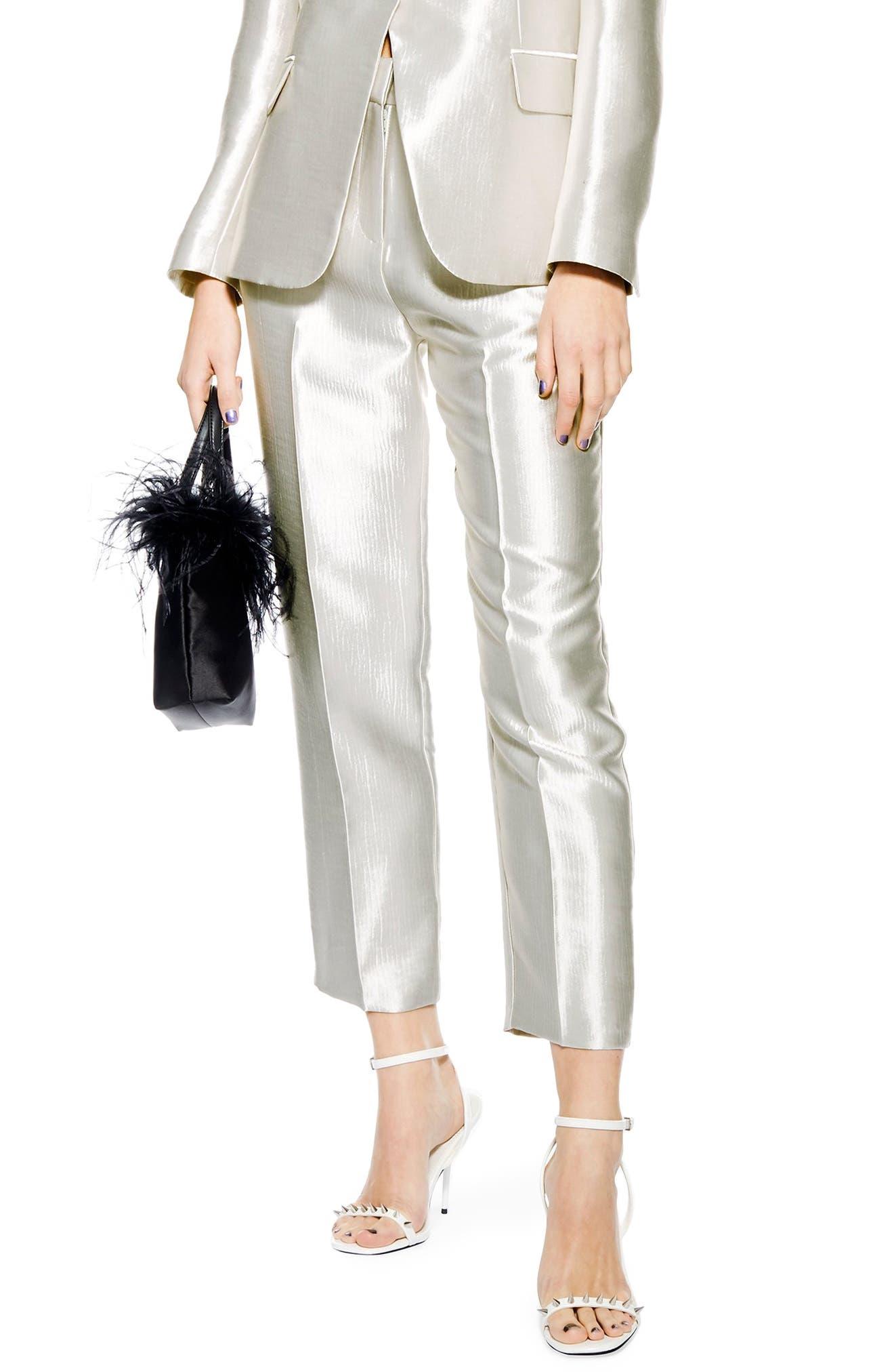 Clean Peg Satin Trousers,                         Main,                         color, SILVER