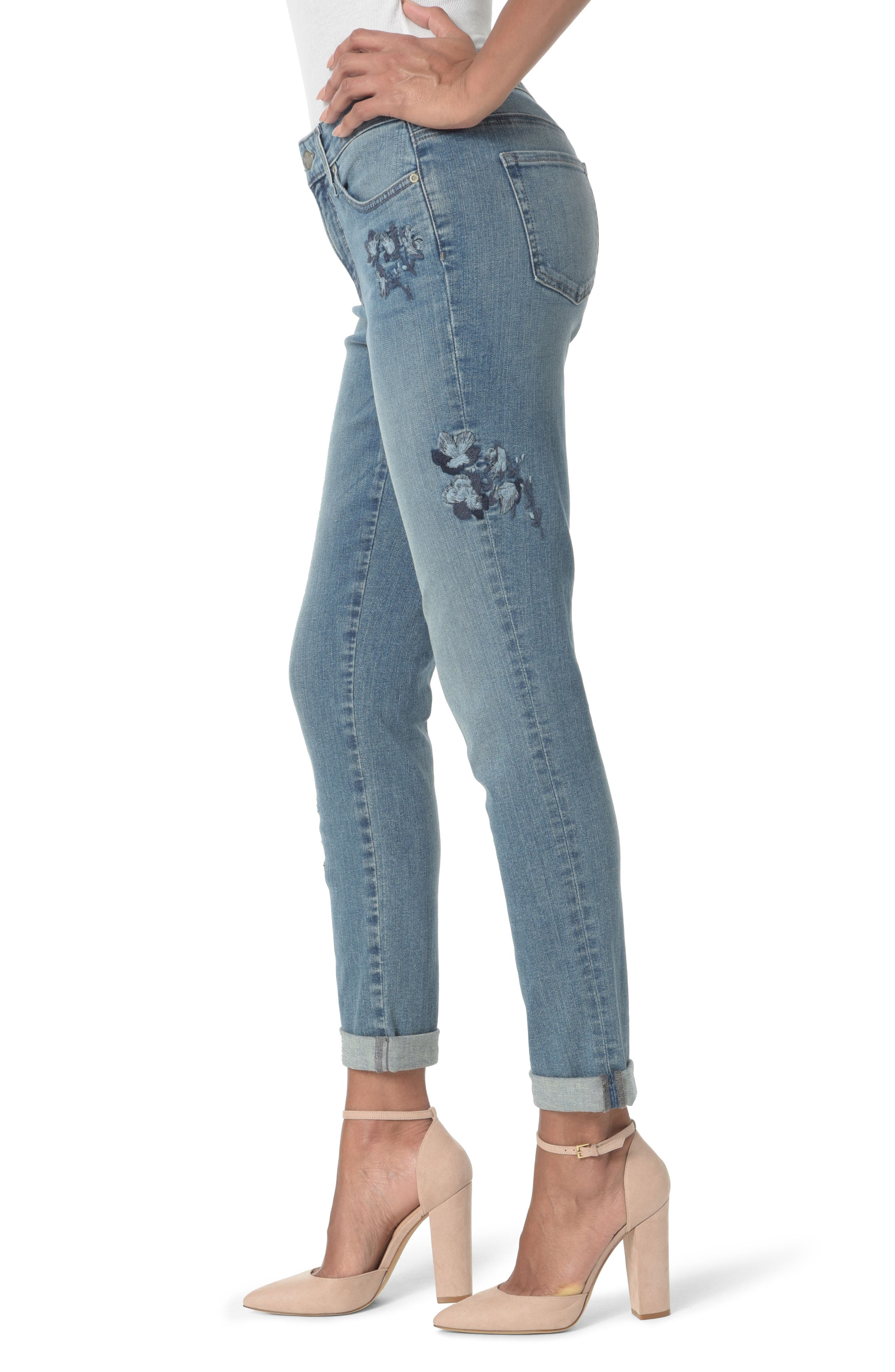 Embroidered Boyfriend Jeans,                             Alternate thumbnail 3, color,