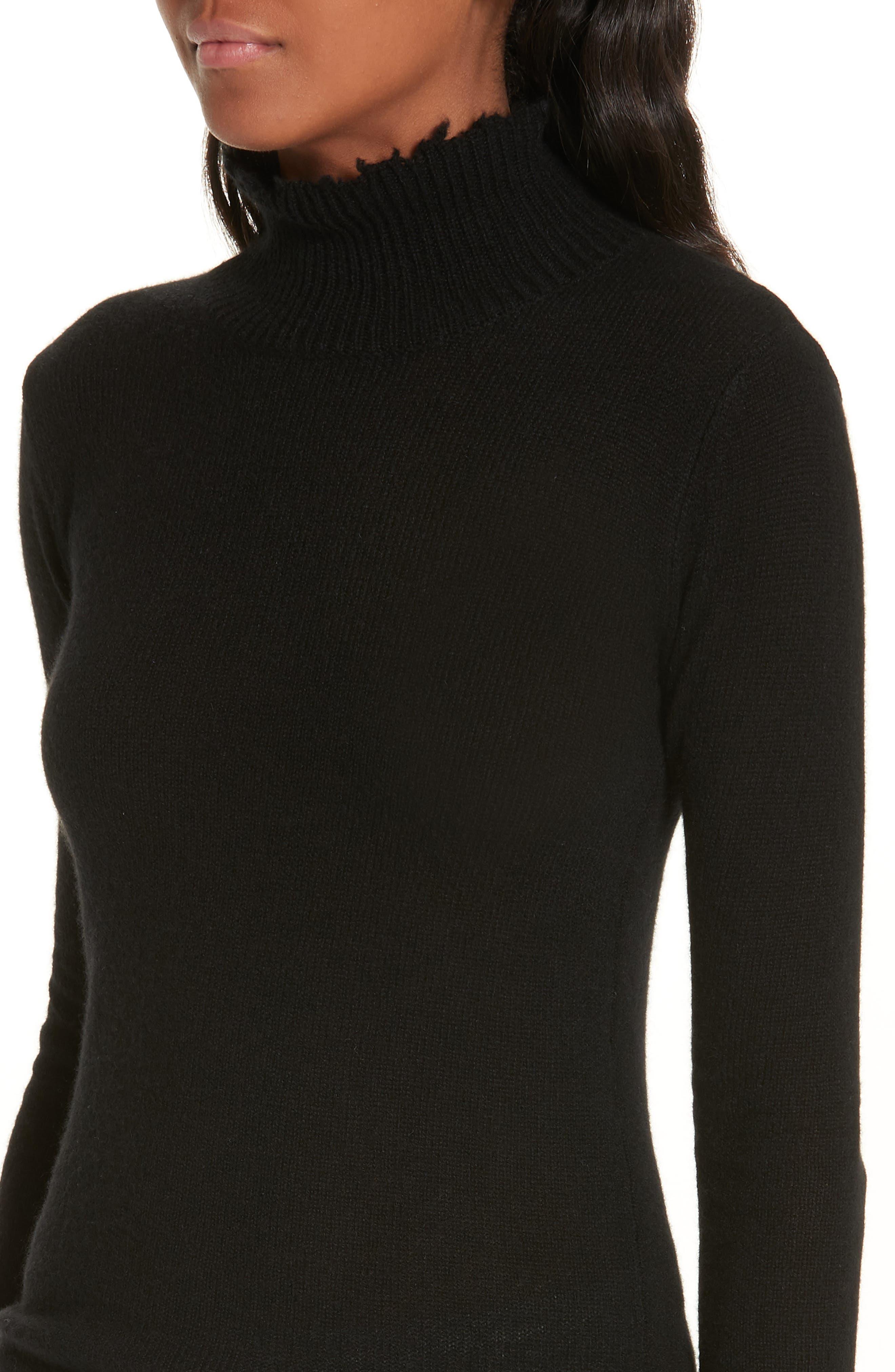 R13,                             Distressed Cashmere Turtleneck Sweater,                             Alternate thumbnail 4, color,                             001