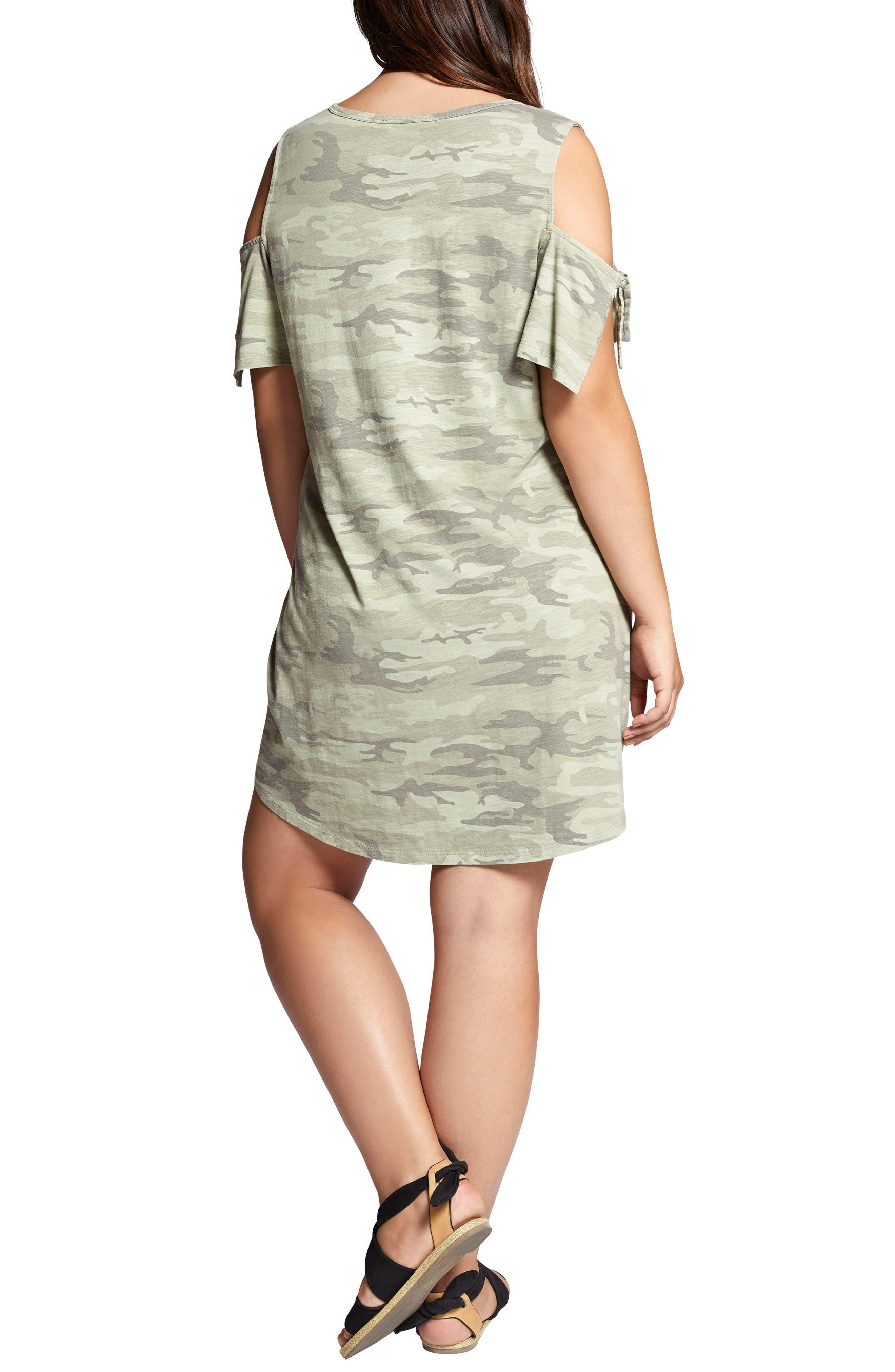 Lakeside Camo Cold Shoulder T-Shirt Dress,                             Alternate thumbnail 2, color,                             CADET CAMO