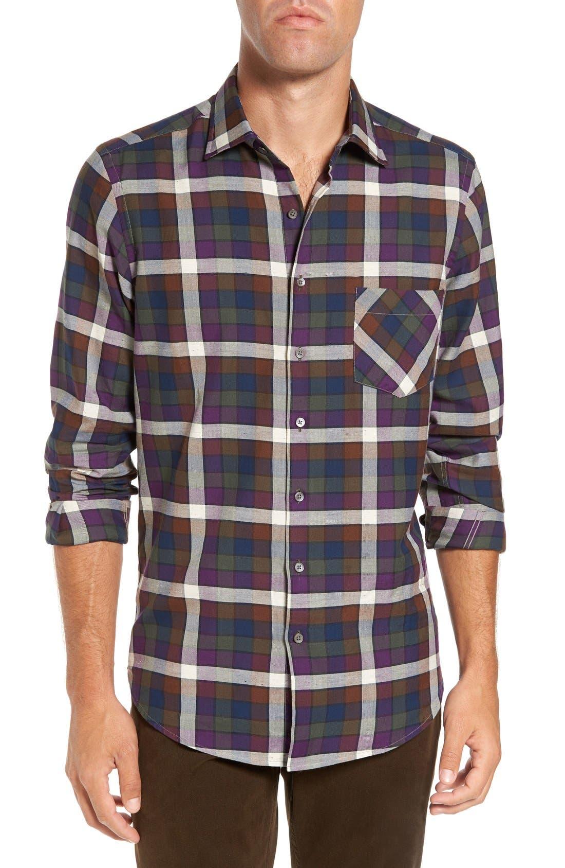 'Allister' Sports Fit Plaid Flannel Sport Shirt,                             Main thumbnail 1, color,                             503
