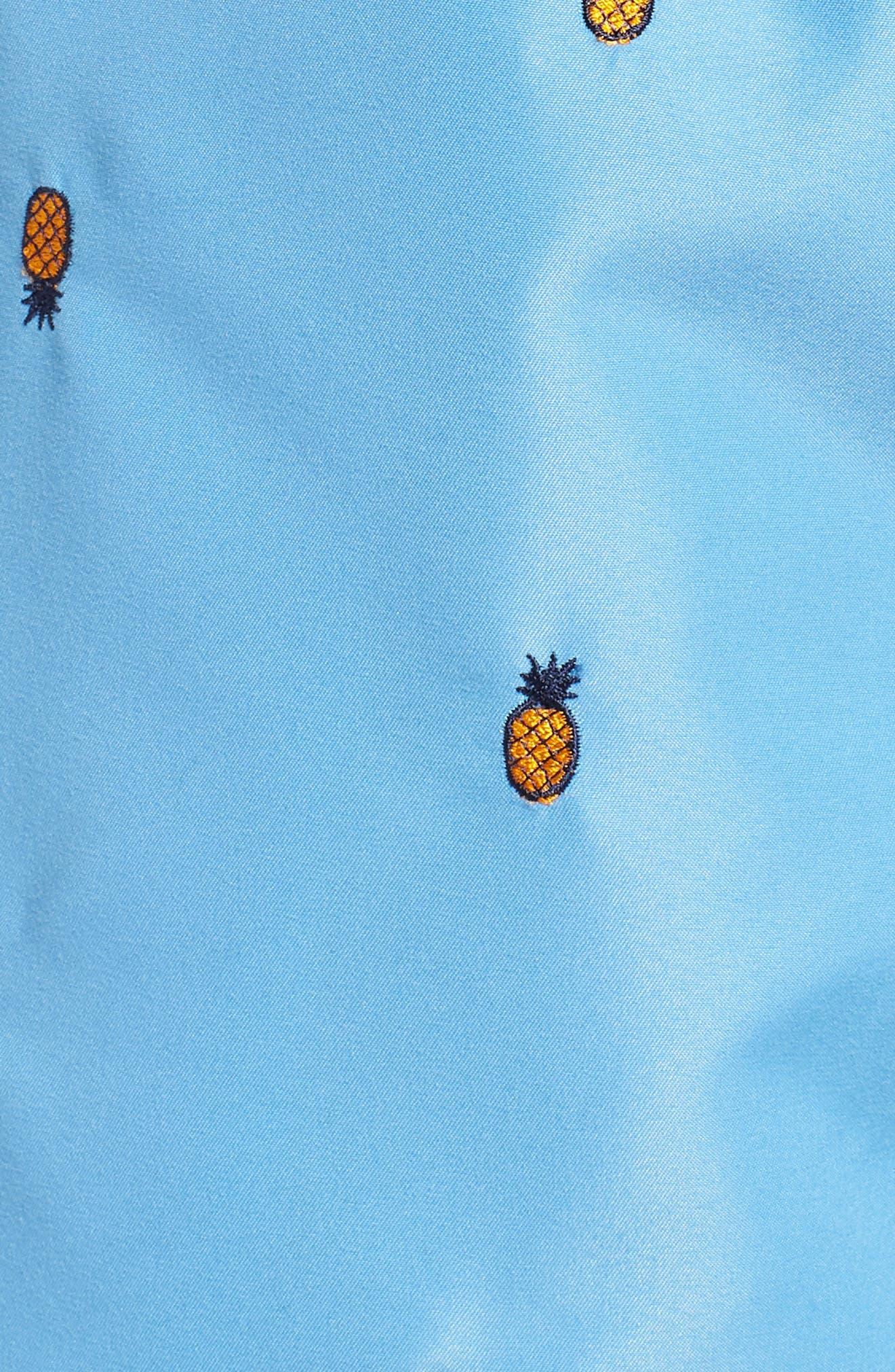 Premium Embroidered Sano Swim Trunks,                             Alternate thumbnail 5, color,                             PERISIAN BLUE