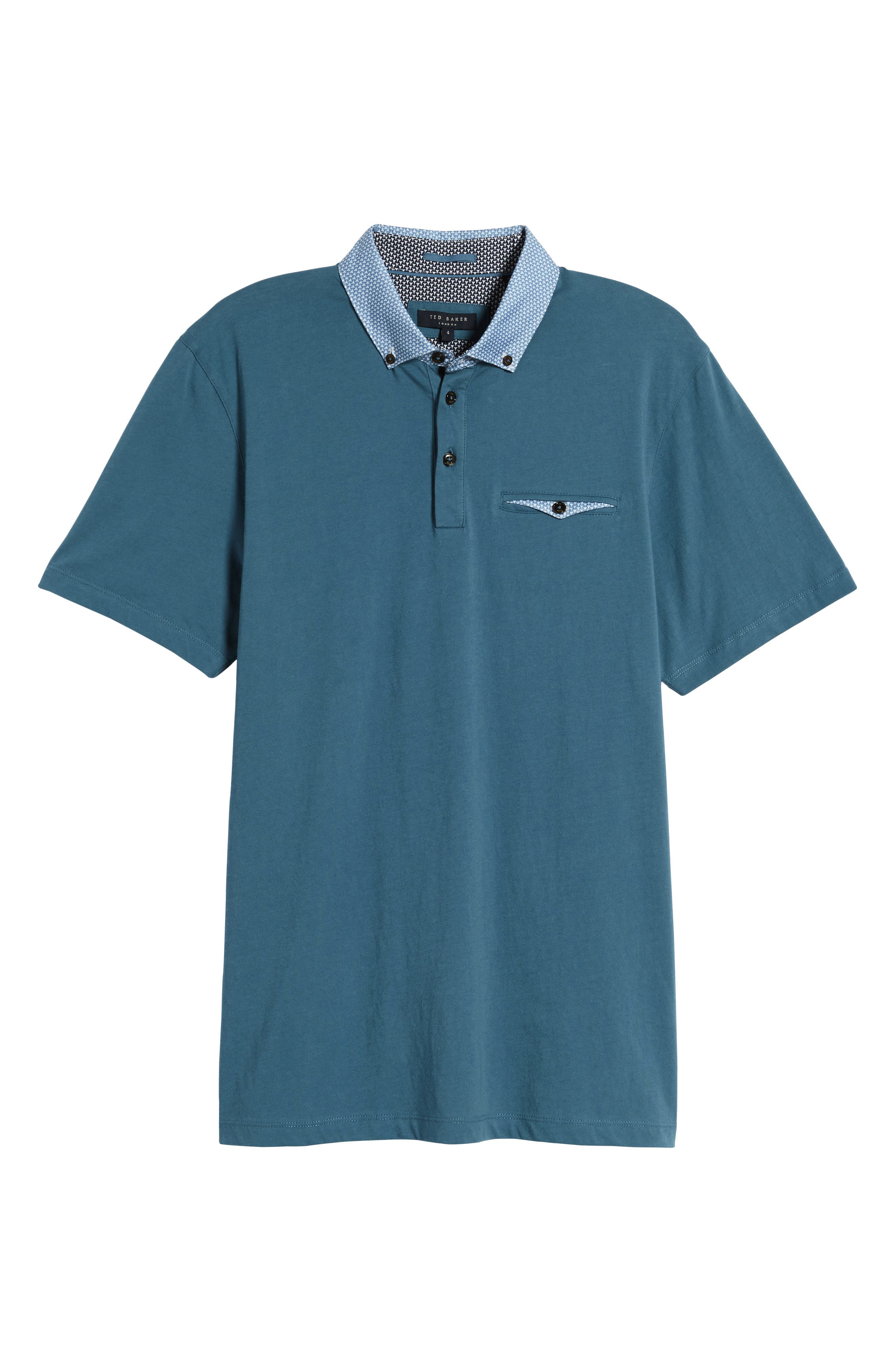Movey Trim Fit Woven Geo Polo,                             Alternate thumbnail 6, color,                             400