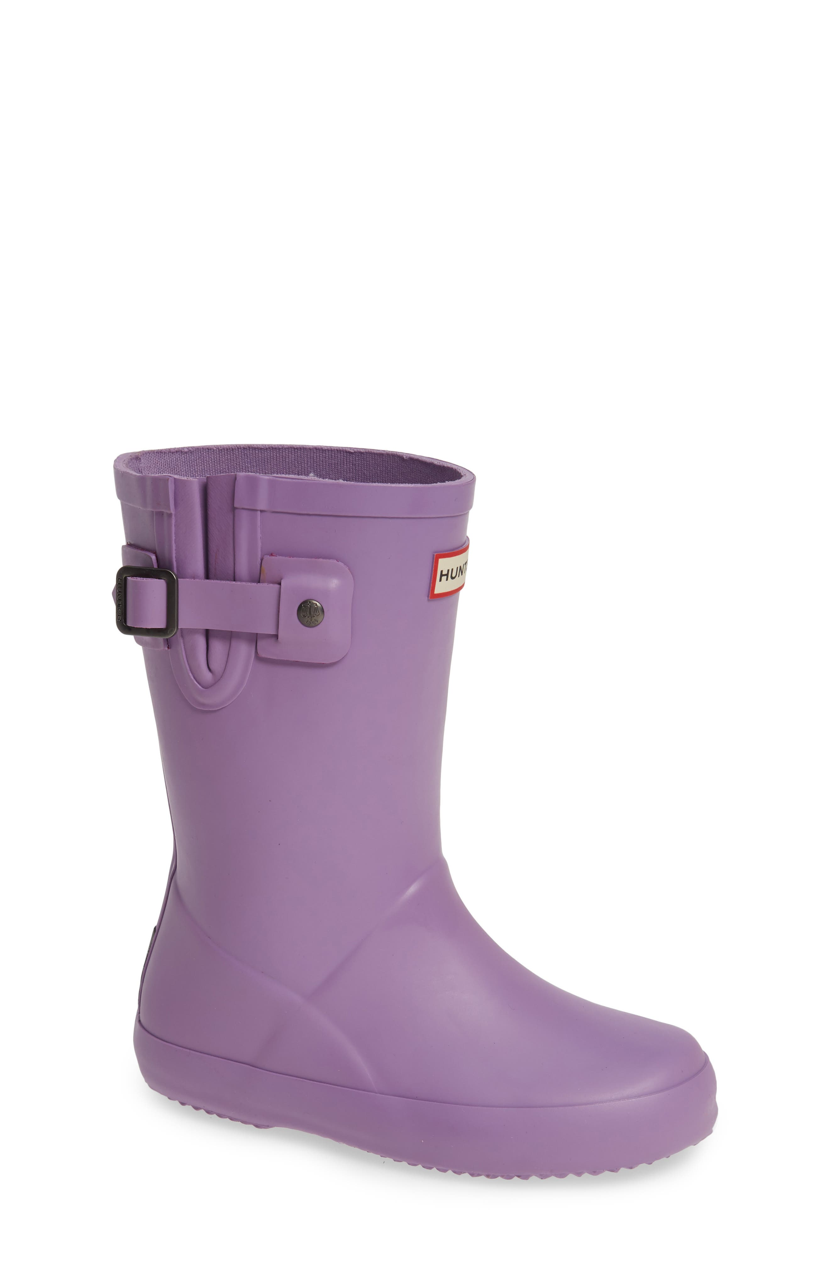Buckle Strap Rain Boot,                         Main,                         color, BRIGHT LAVENDER