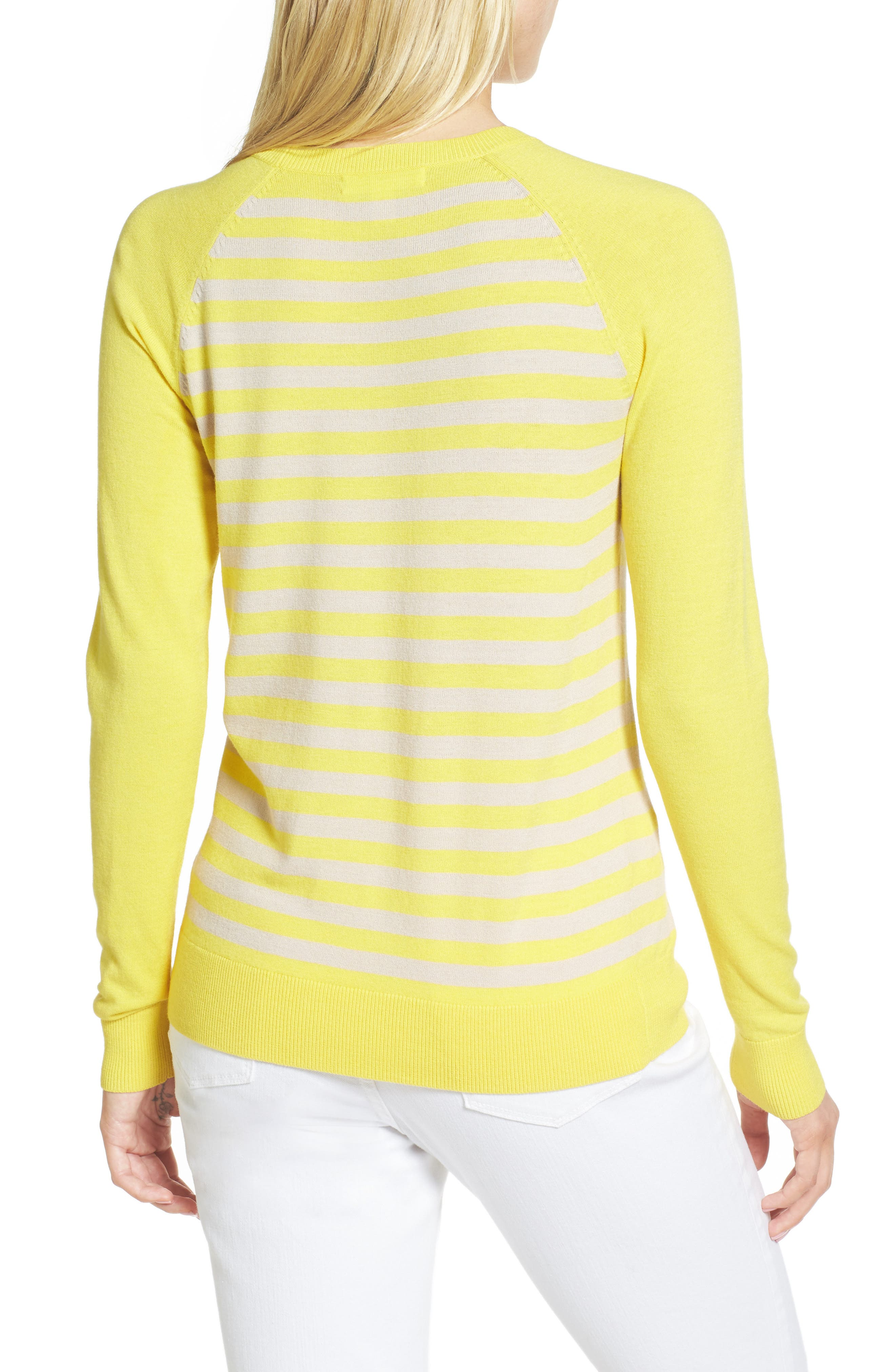 Ruffle Trim Stripe Sweater,                             Alternate thumbnail 6, color,