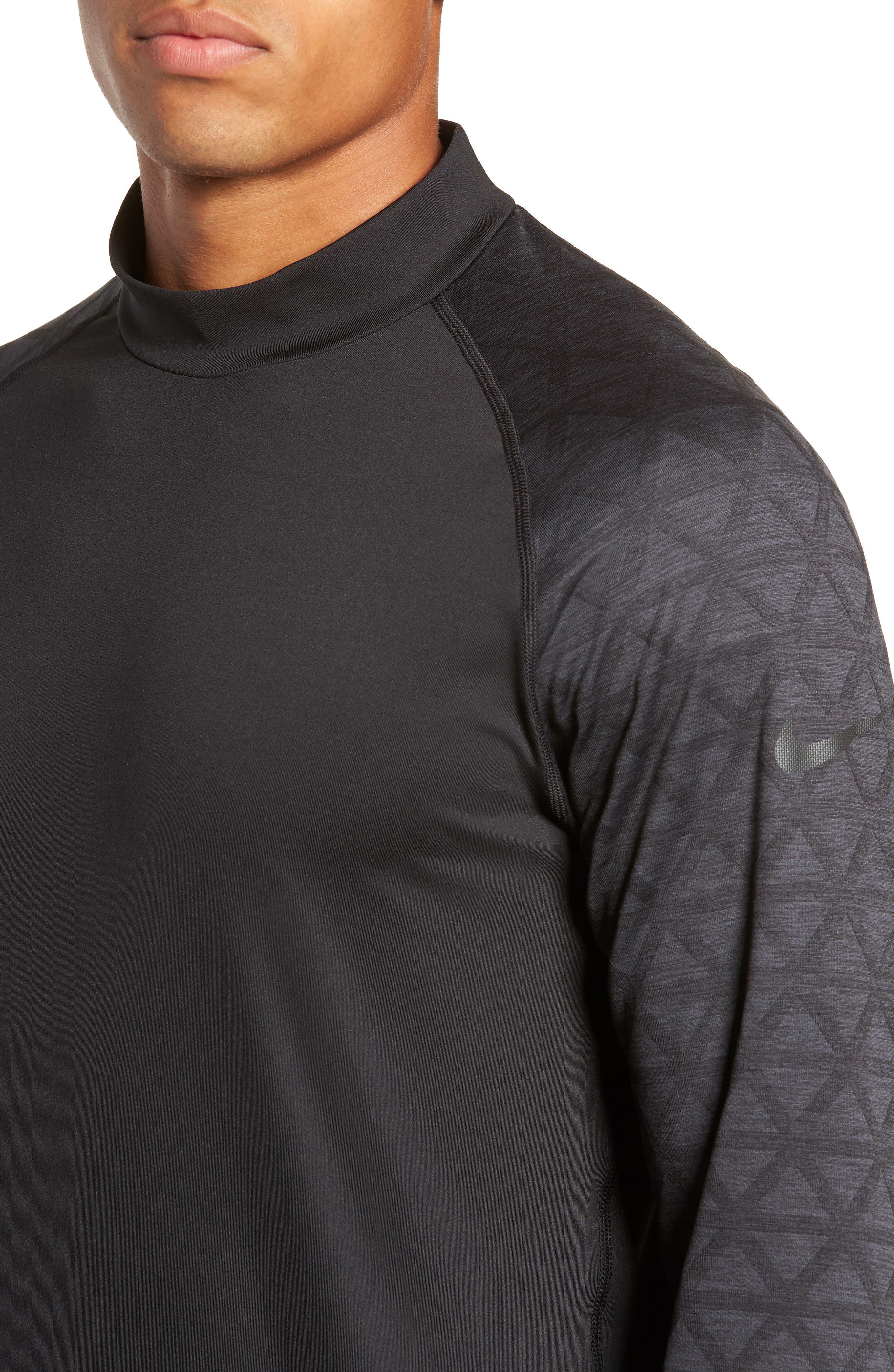 NIKE,                             Niko Pro Therma Long Sleeve Mock Neck T-Shirt,                             Alternate thumbnail 4, color,                             010