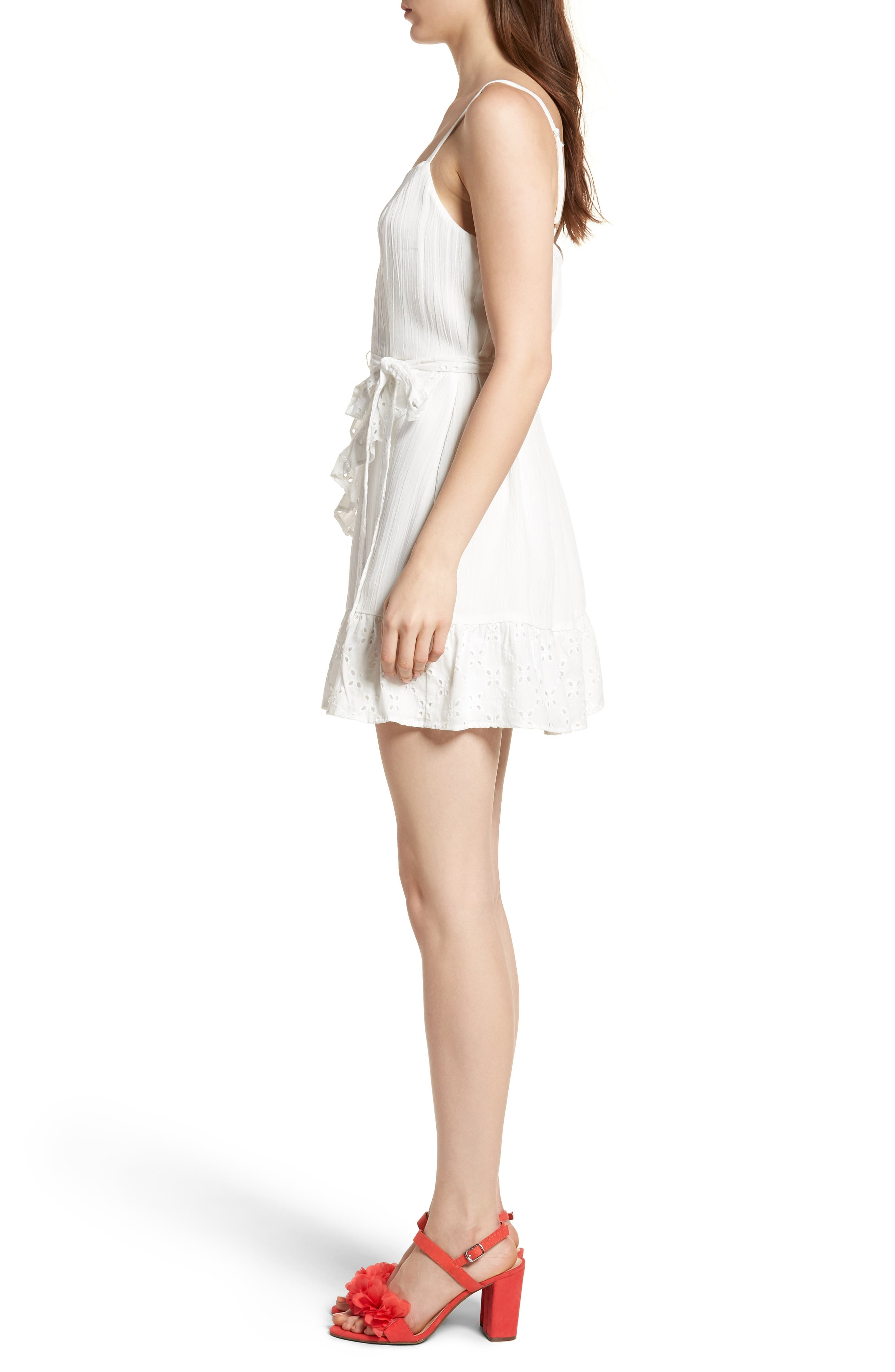 Ruffle Eyelet Minidress,                             Alternate thumbnail 3, color,                             100