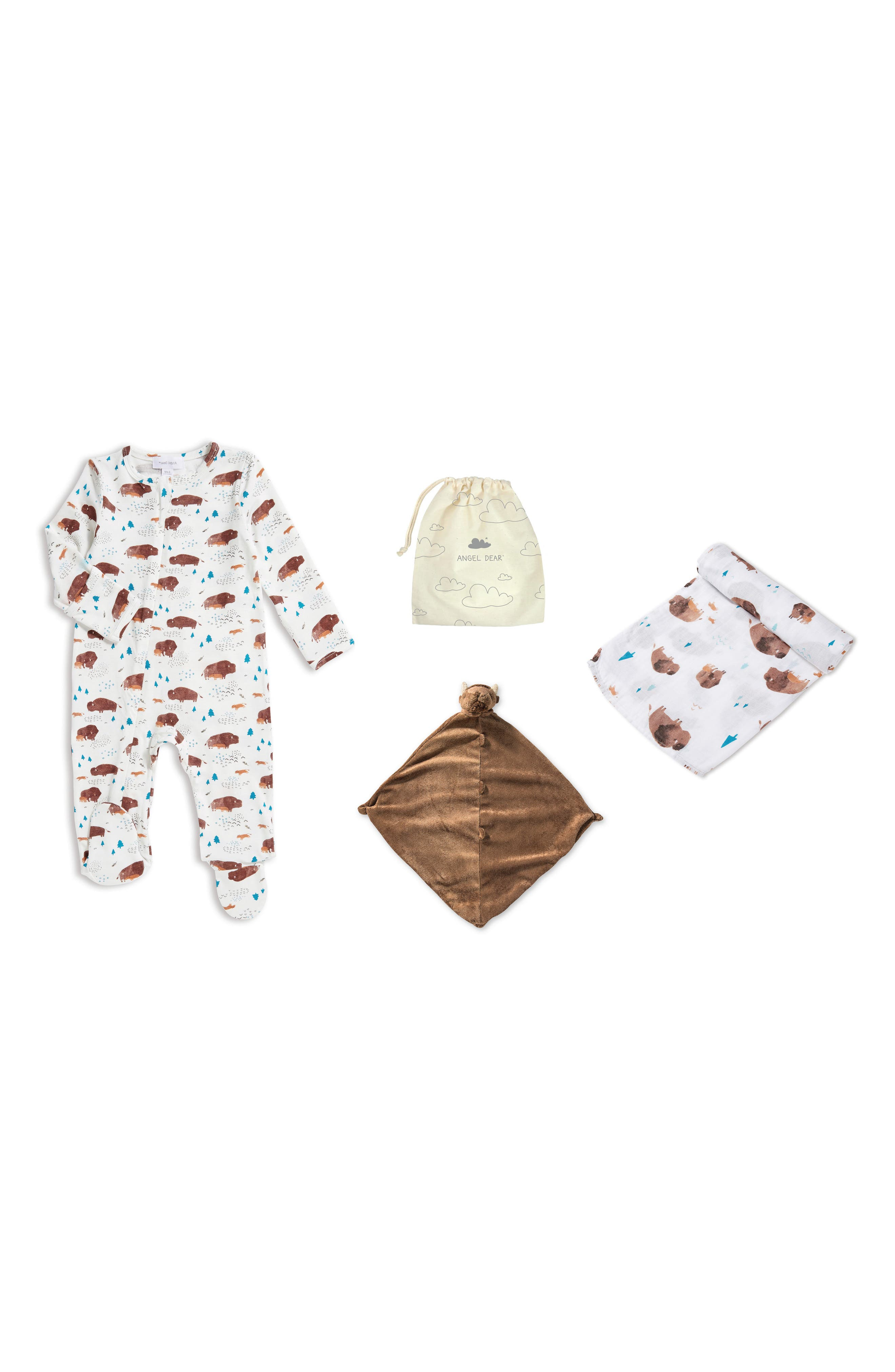 Infant Angel Dear Bison Romper Blankie  Swaddling Cloth Set
