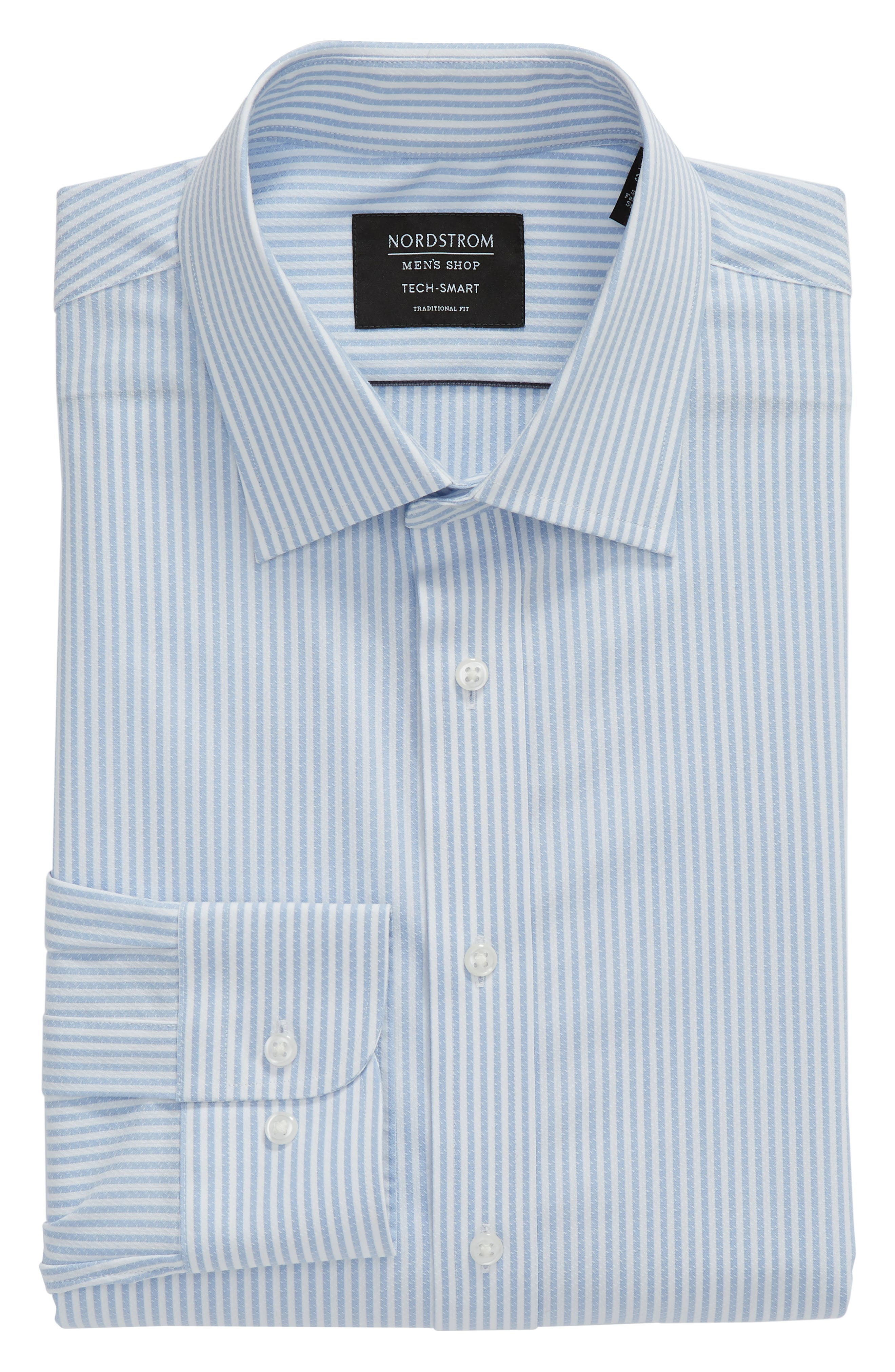 Tech-Smart Traditional Fit Stripe Stretch Dress Shirt,                             Alternate thumbnail 14, color,