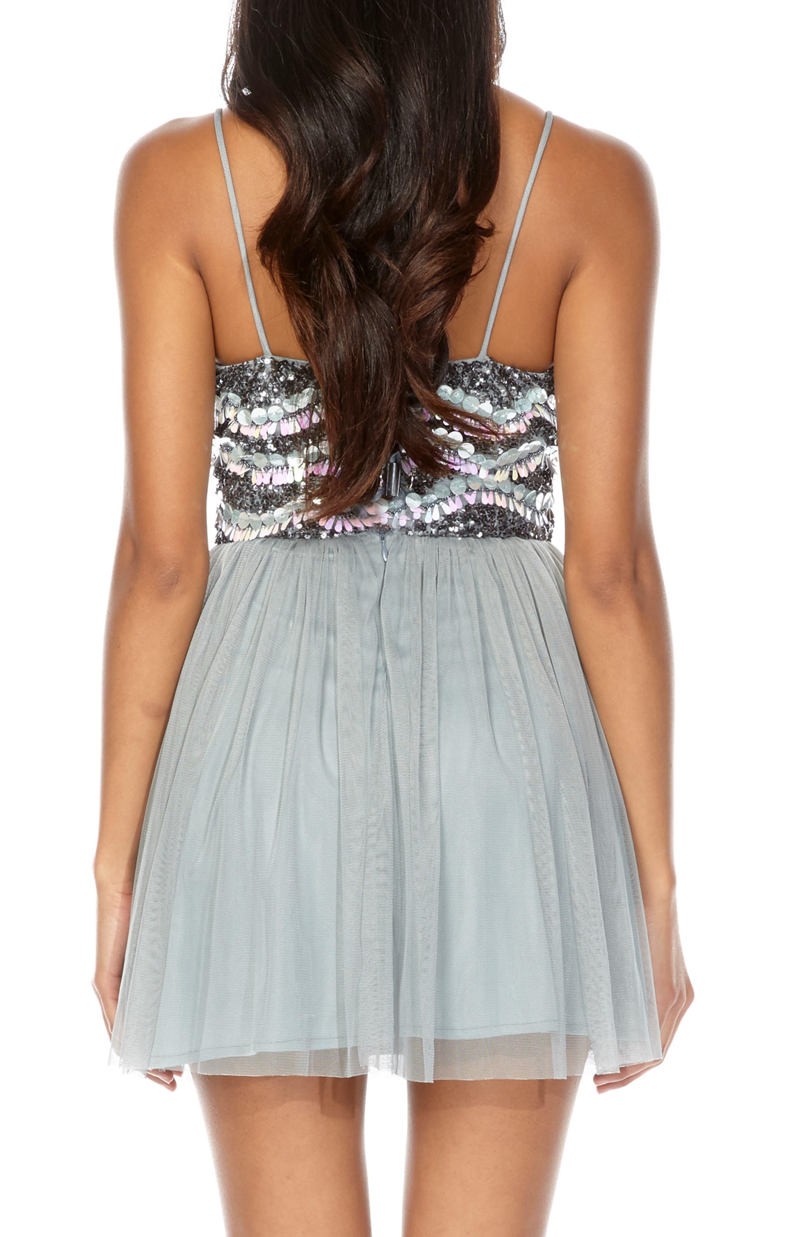 Amika Sequin & Mesh Party Dress,                             Alternate thumbnail 2, color,                             GREY