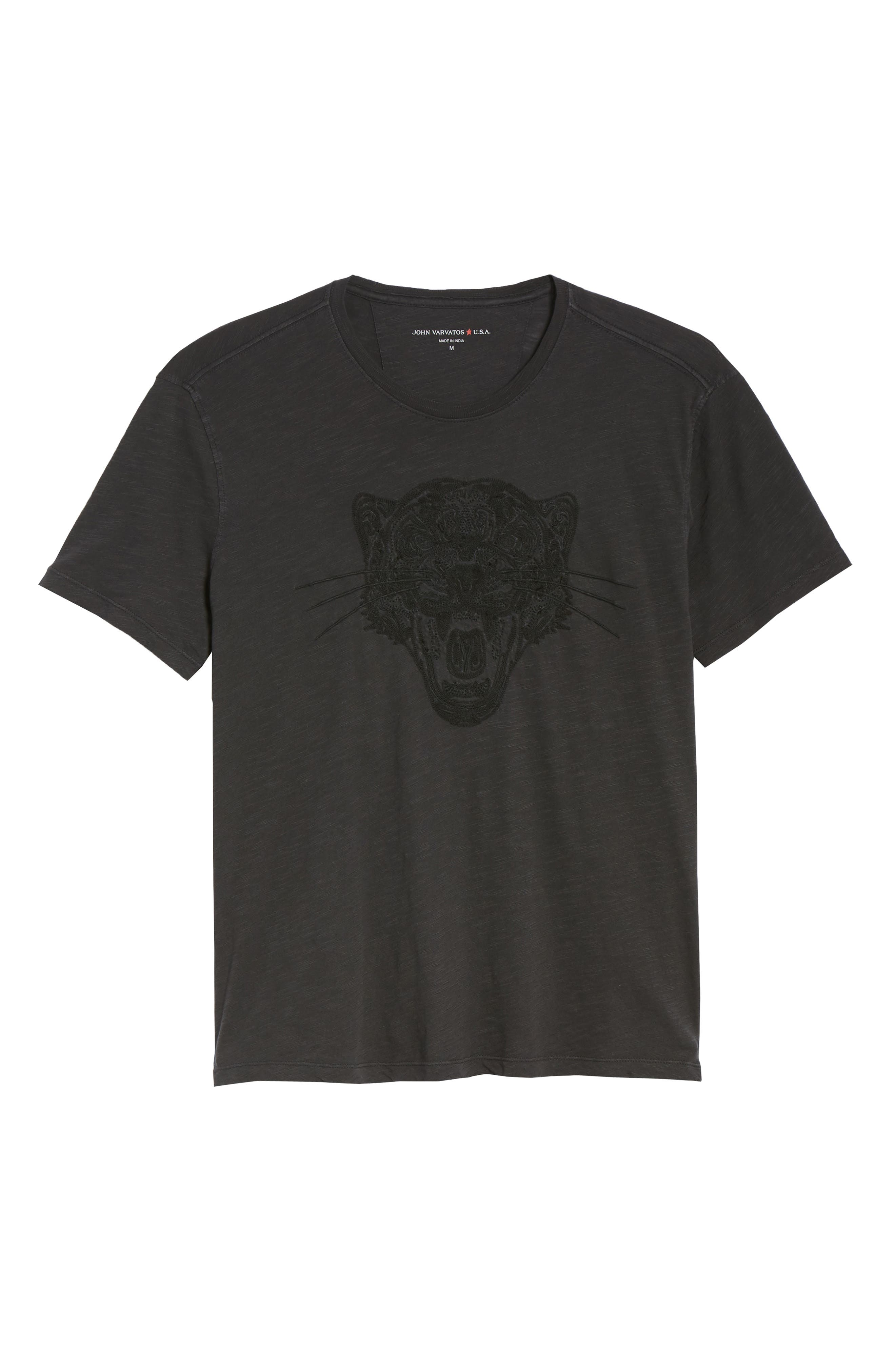 Embroidered Panther T-Shirt,                             Alternate thumbnail 6, color,                             BLACK