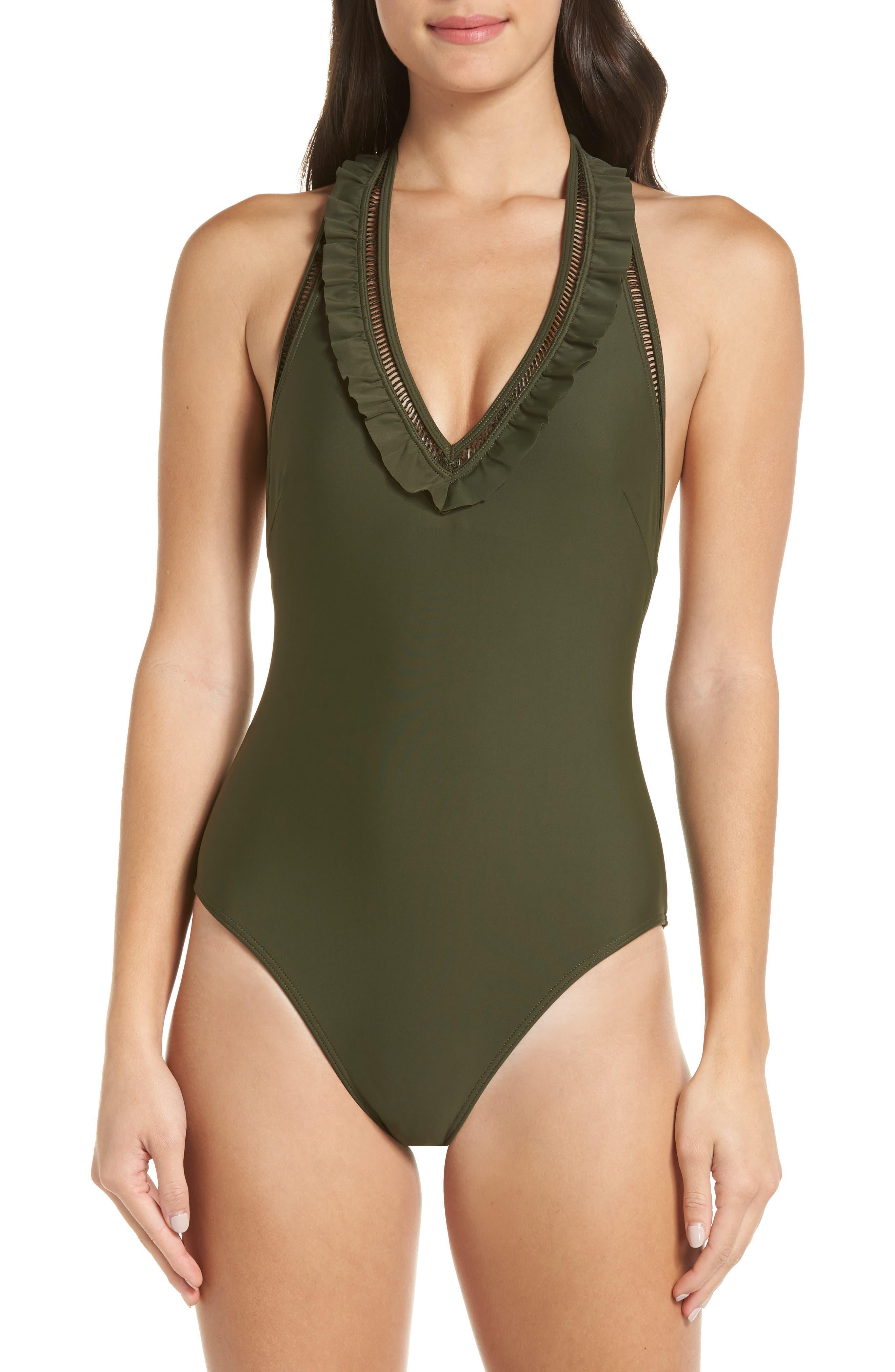Blanna Deep-V Ruffle One-Piece Swimsuit,                             Main thumbnail 1, color,                             DARK GREEN