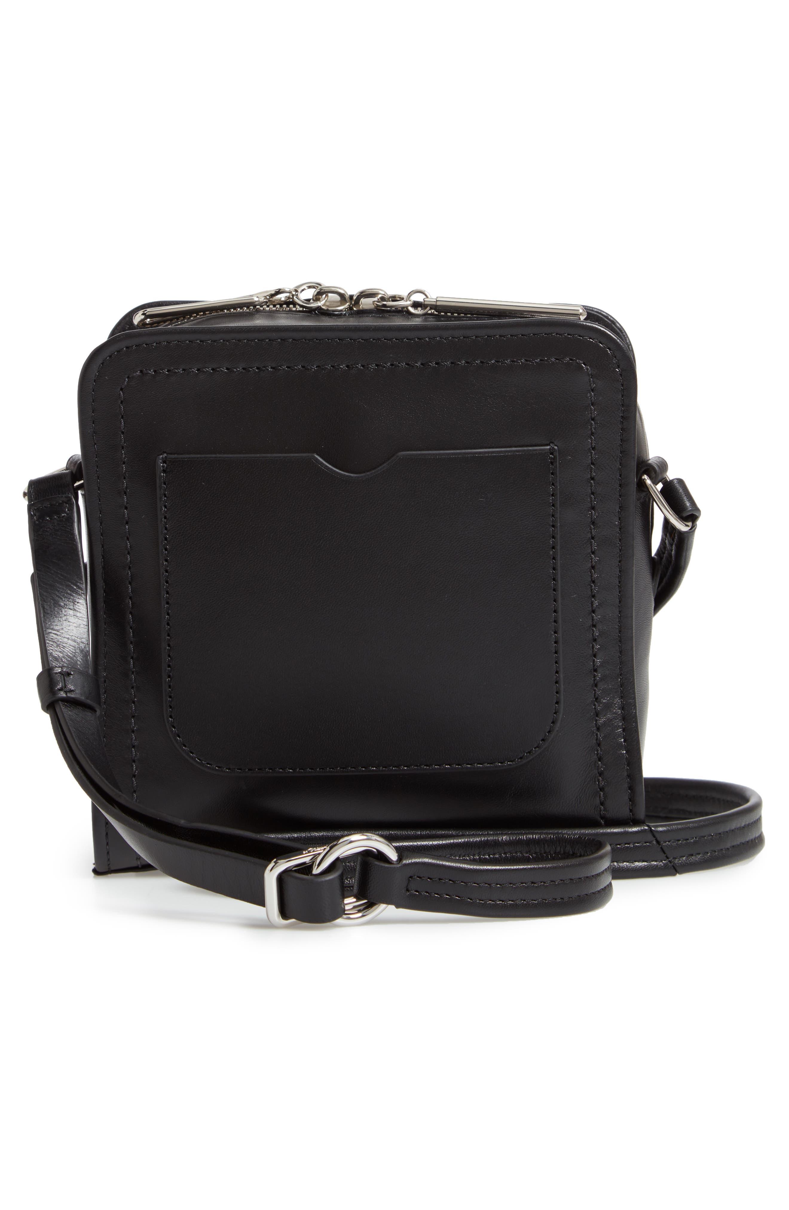 Hudson Mini Square Leather Crossbody Bag,                             Alternate thumbnail 3, color,                             001