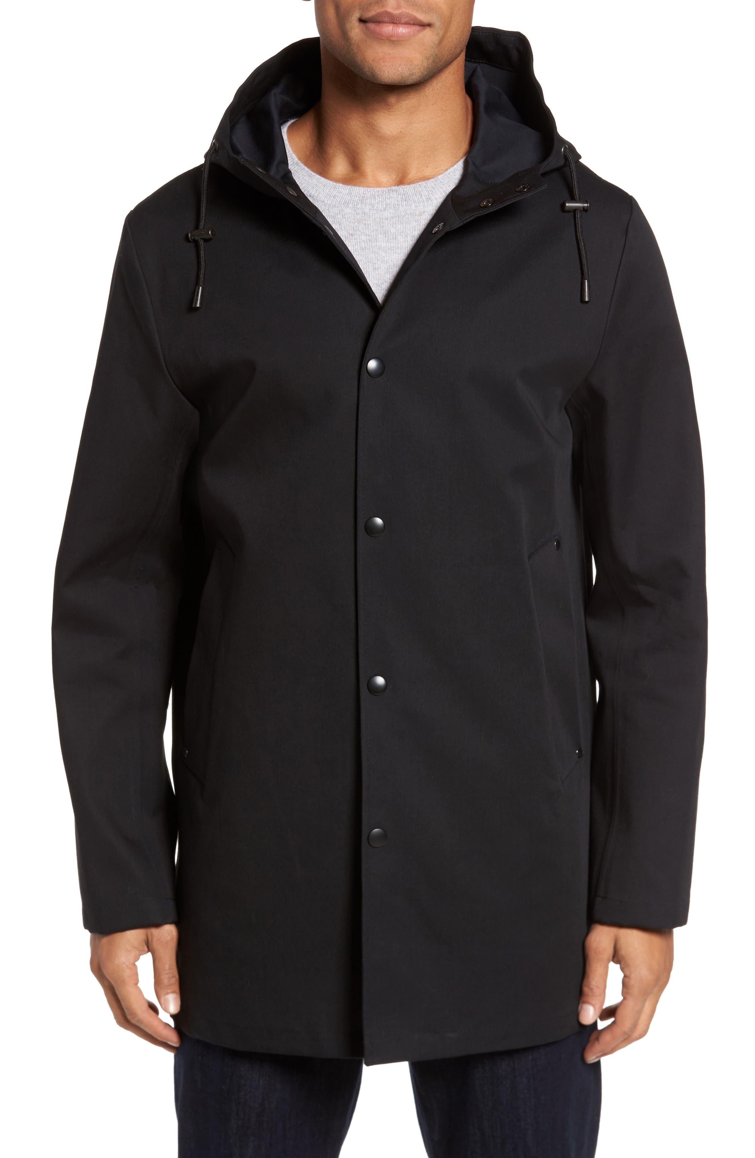 Stockholm Bonded Waterproof Hooded Raincoat,                             Alternate thumbnail 4, color,                             001