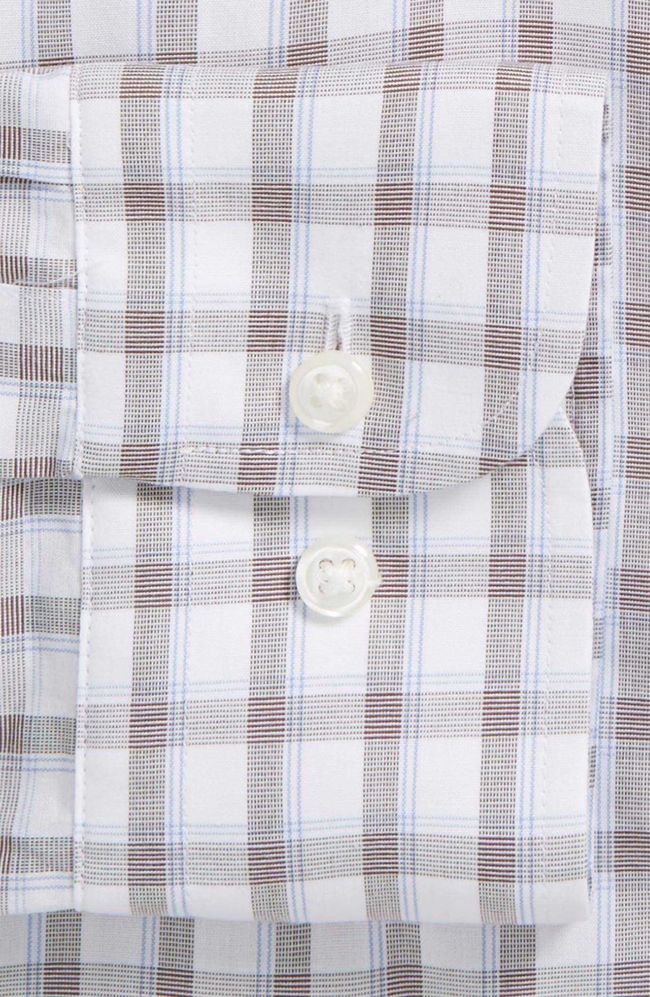 Smartcare<sup>™</sup> Extra Trim Fit Plaid Dress Shirt,                             Alternate thumbnail 4, color,                             210