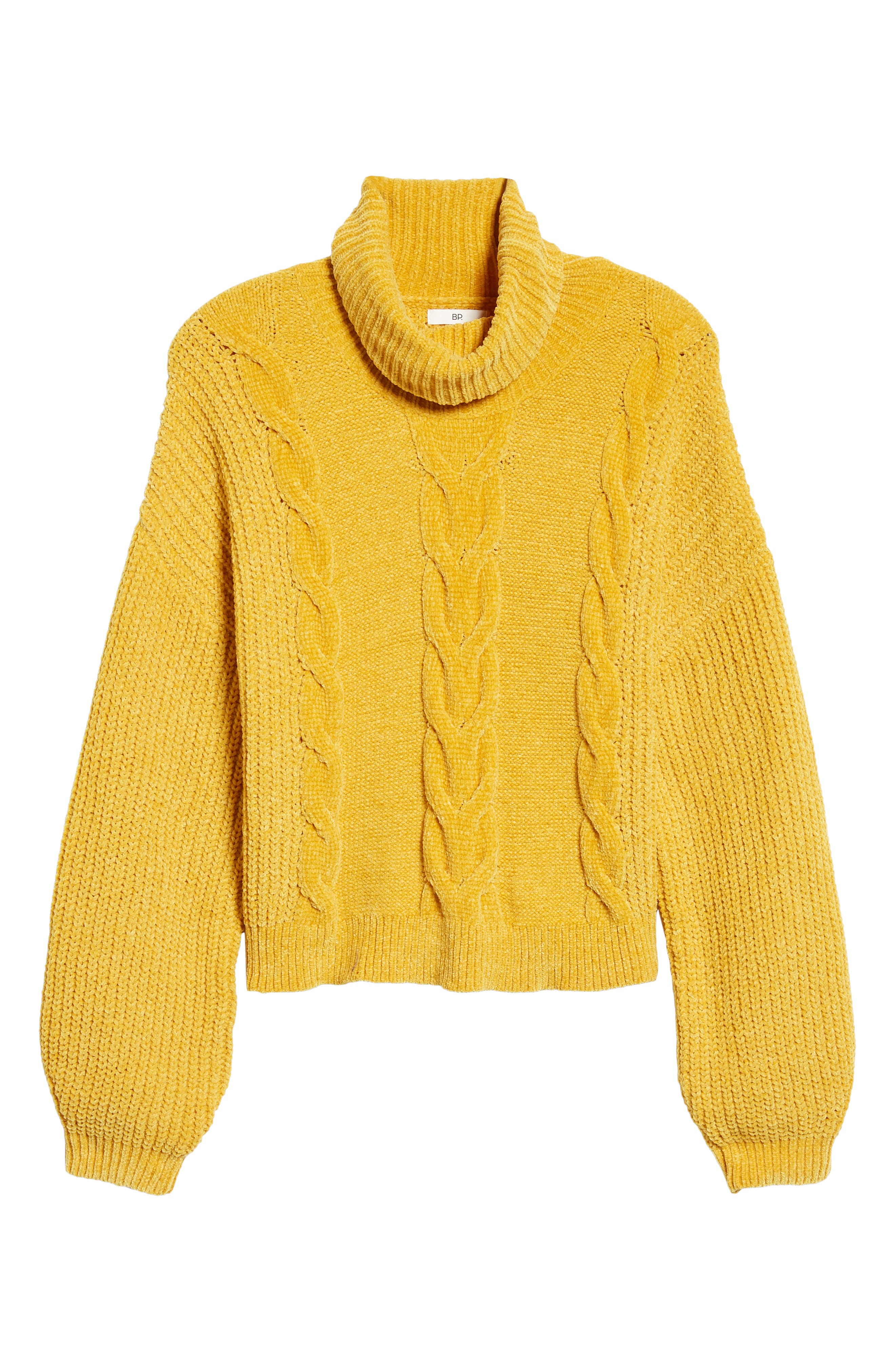 Cable Knit Chenille Sweater,                             Alternate thumbnail 6, color,                             YELLOW MINERAL