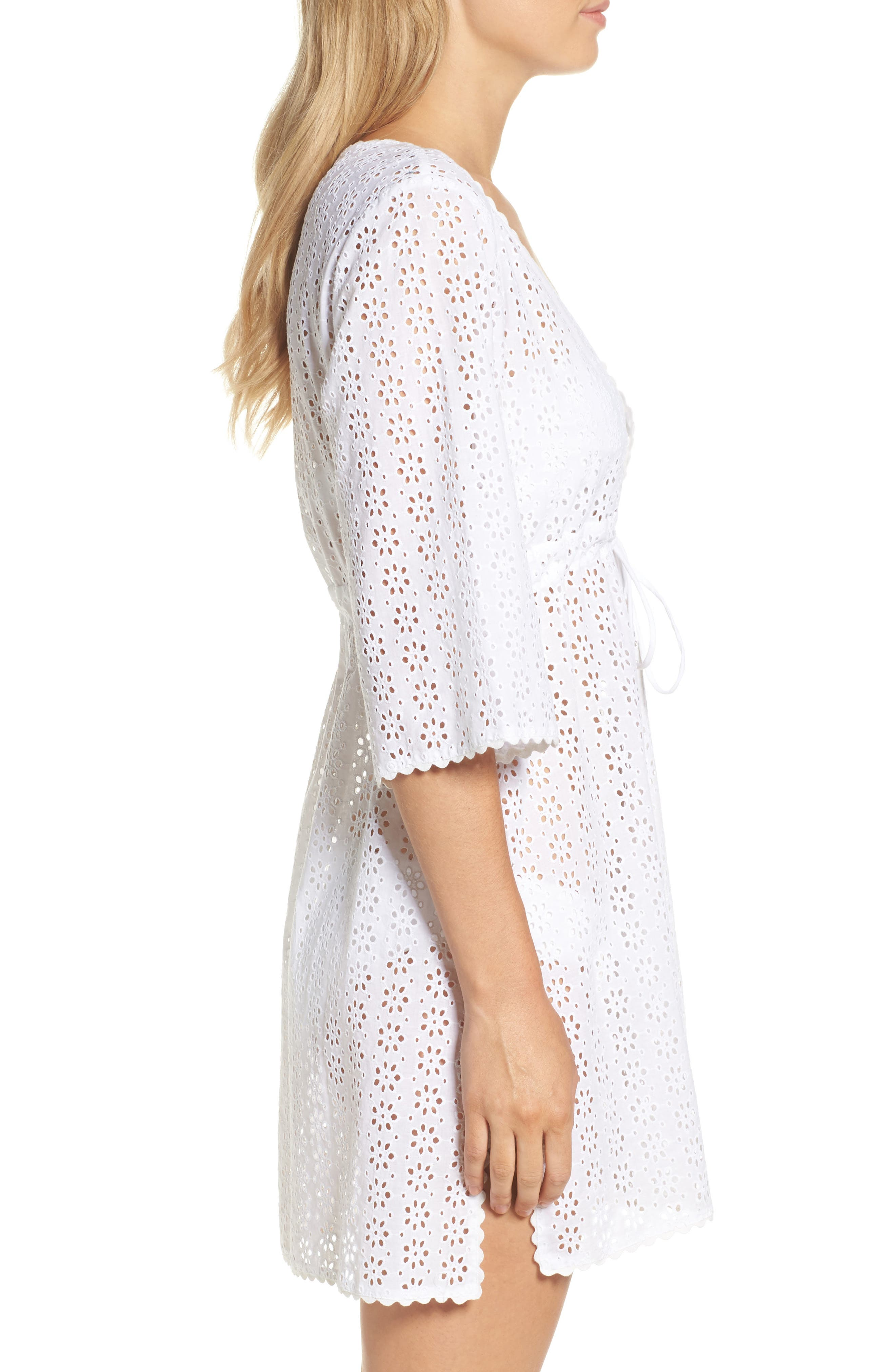 Broderie Anglais Cover-Up Dress,                             Alternate thumbnail 3, color,                             100