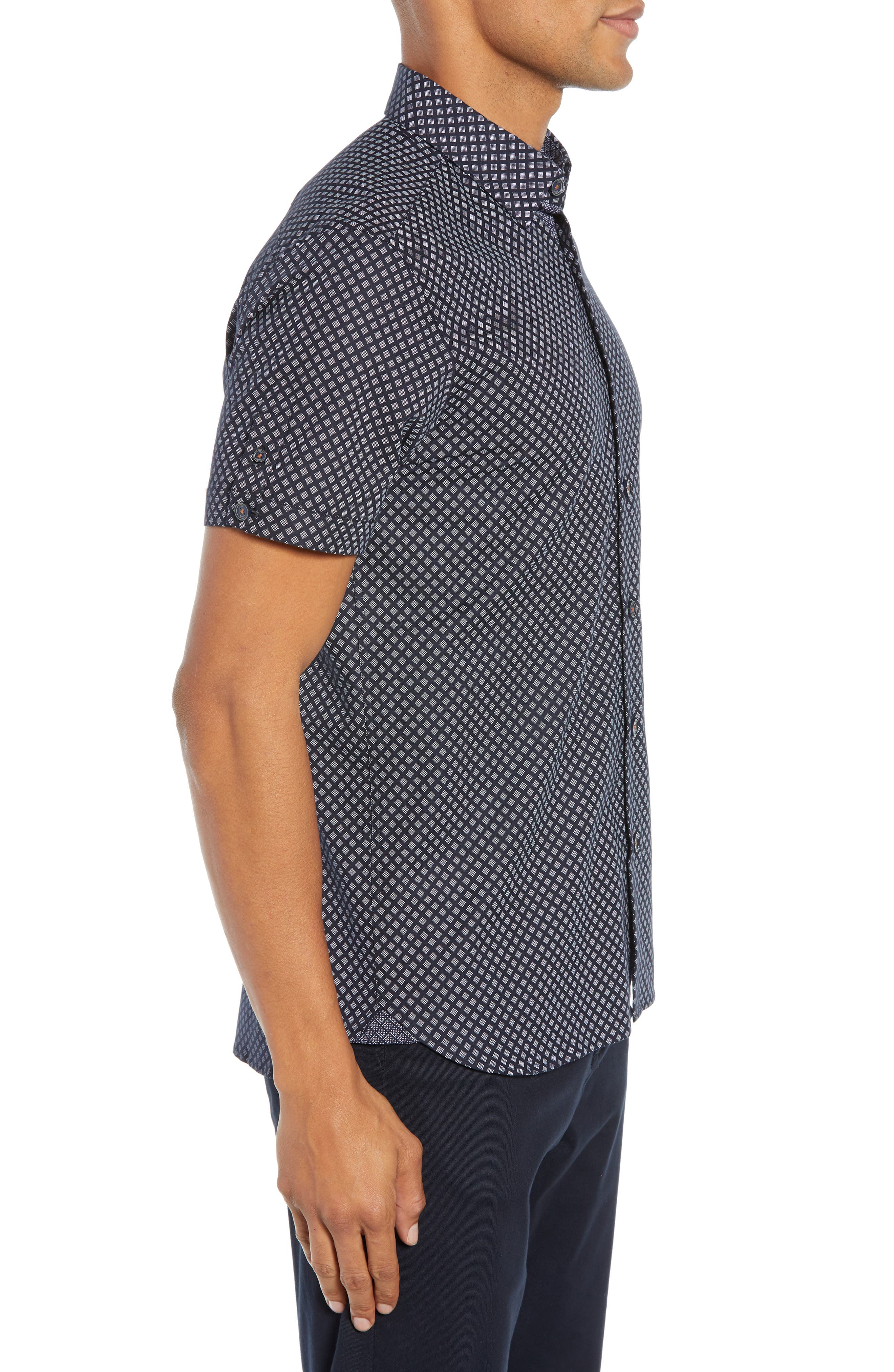 Slim Fit Foresth Diamond Pattern Woven Shirt,                             Alternate thumbnail 4, color,                             NAVY