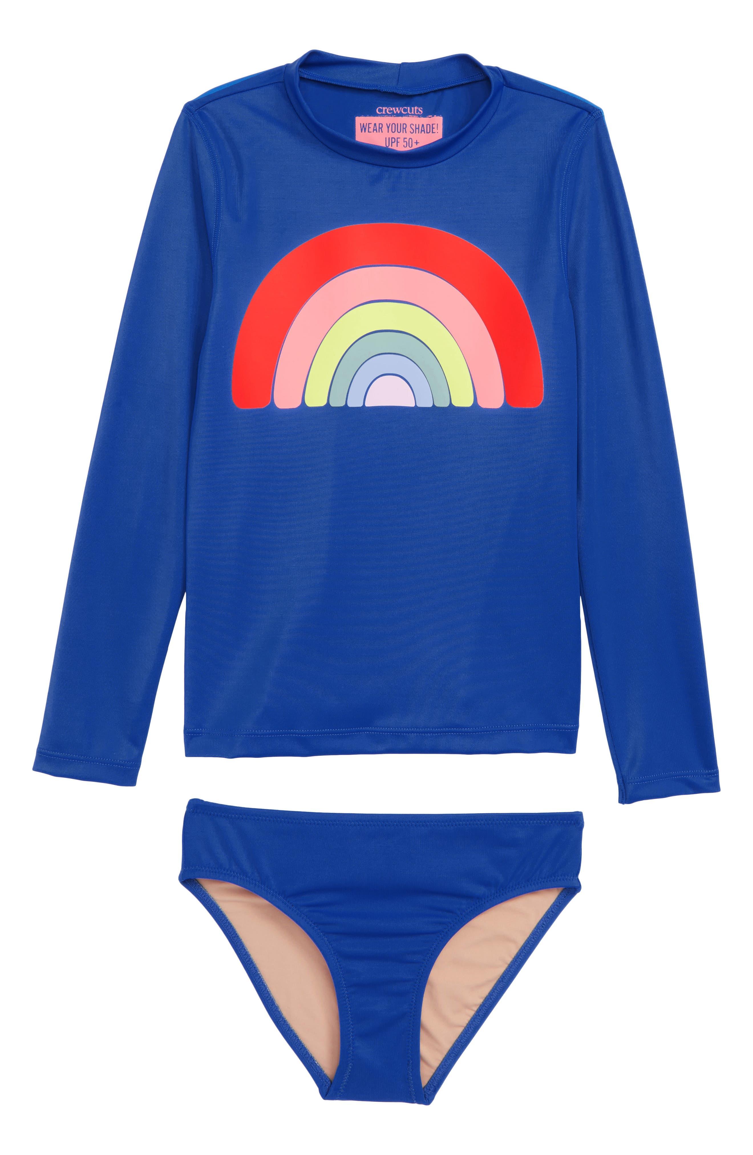 Rainbow Stripe Rashguard Set,                         Main,                         color, HEATHER LILAC CLOSED EYE