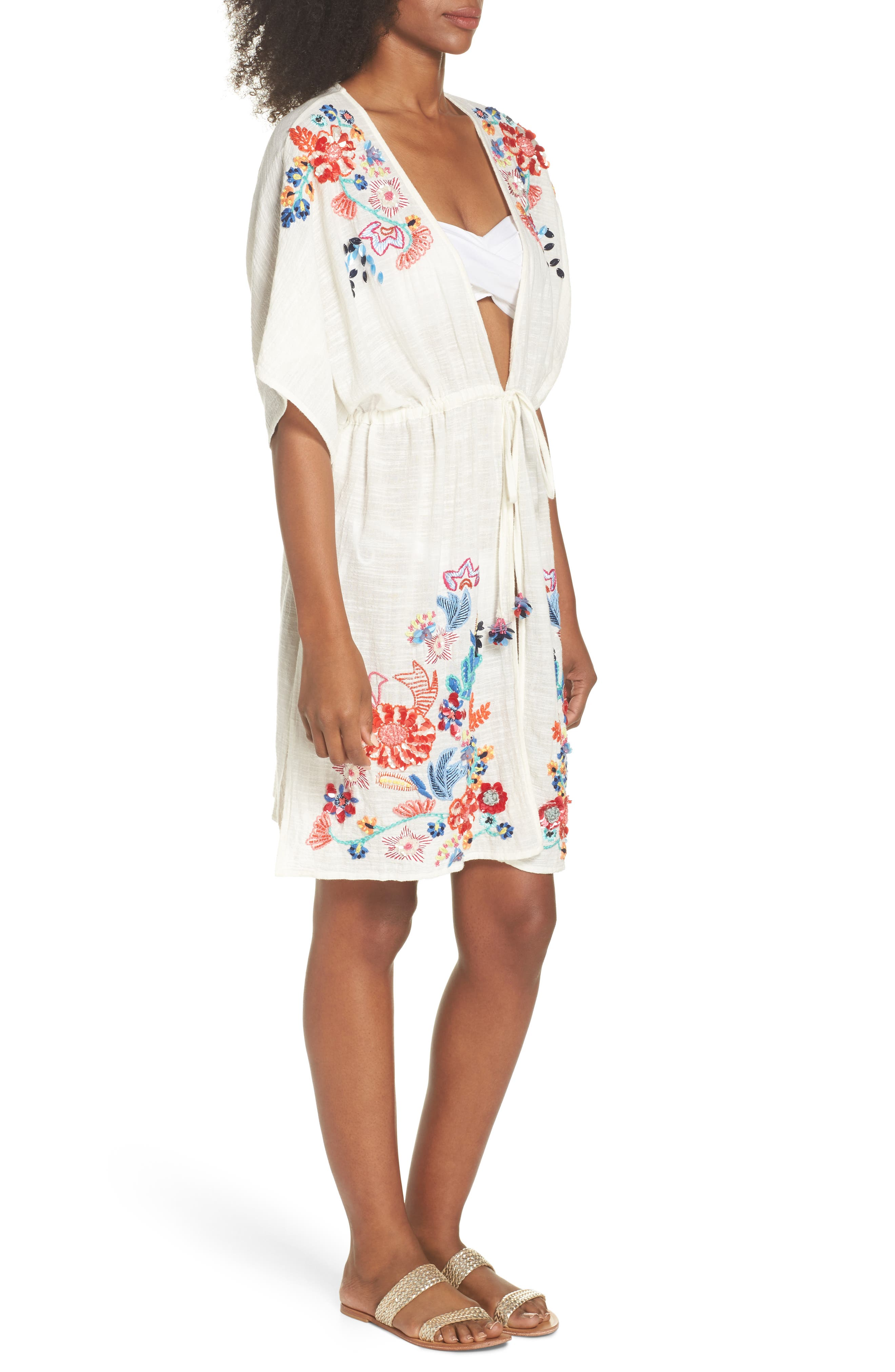 Wildflower Cover-Up Tunic,                             Alternate thumbnail 3, color,                             100