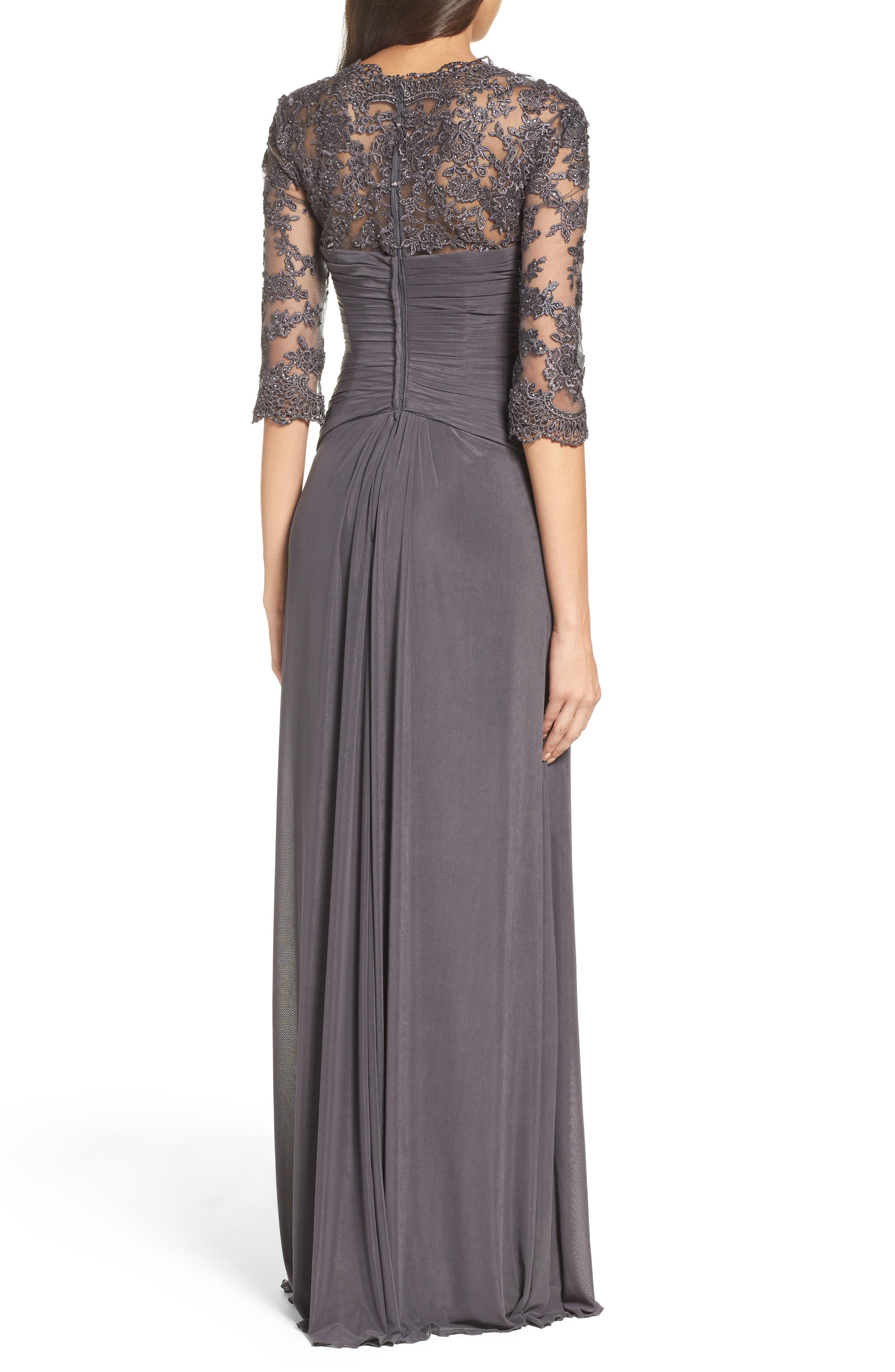 Lace & Net Ruched Twist Front Gown,                             Alternate thumbnail 2, color,                             GUNMETAL