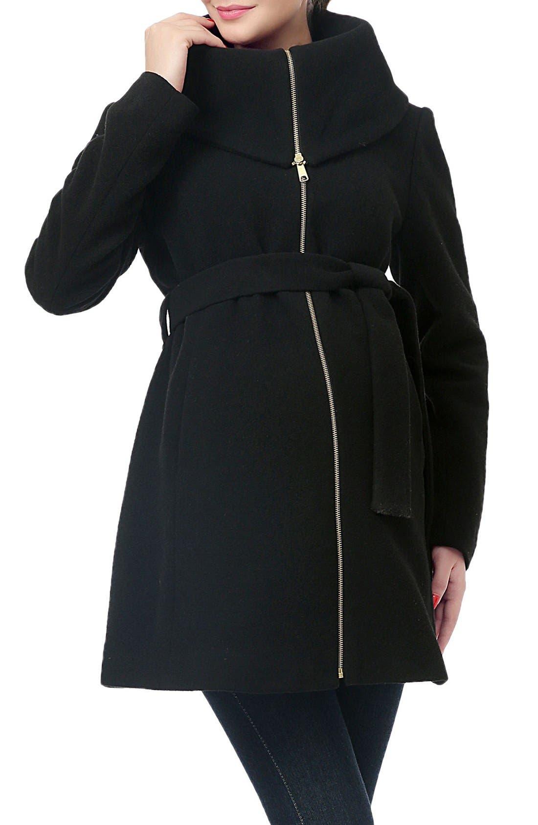 'Mia' High Collar Maternity Coat,                             Main thumbnail 1, color,                             BLACK