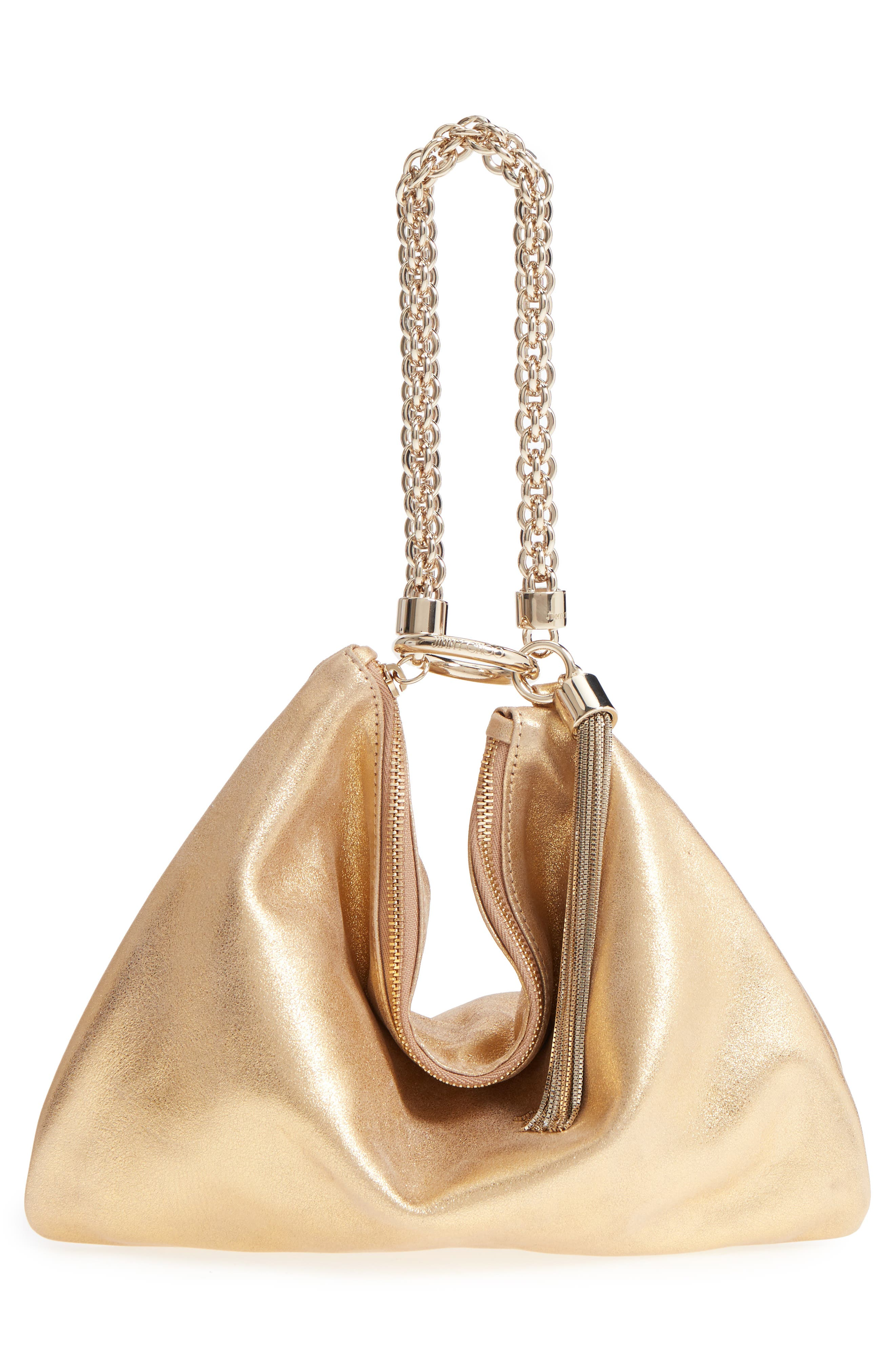 Callie Evening Metallic Leather Clutch,                             Alternate thumbnail 3, color,                             GOLD