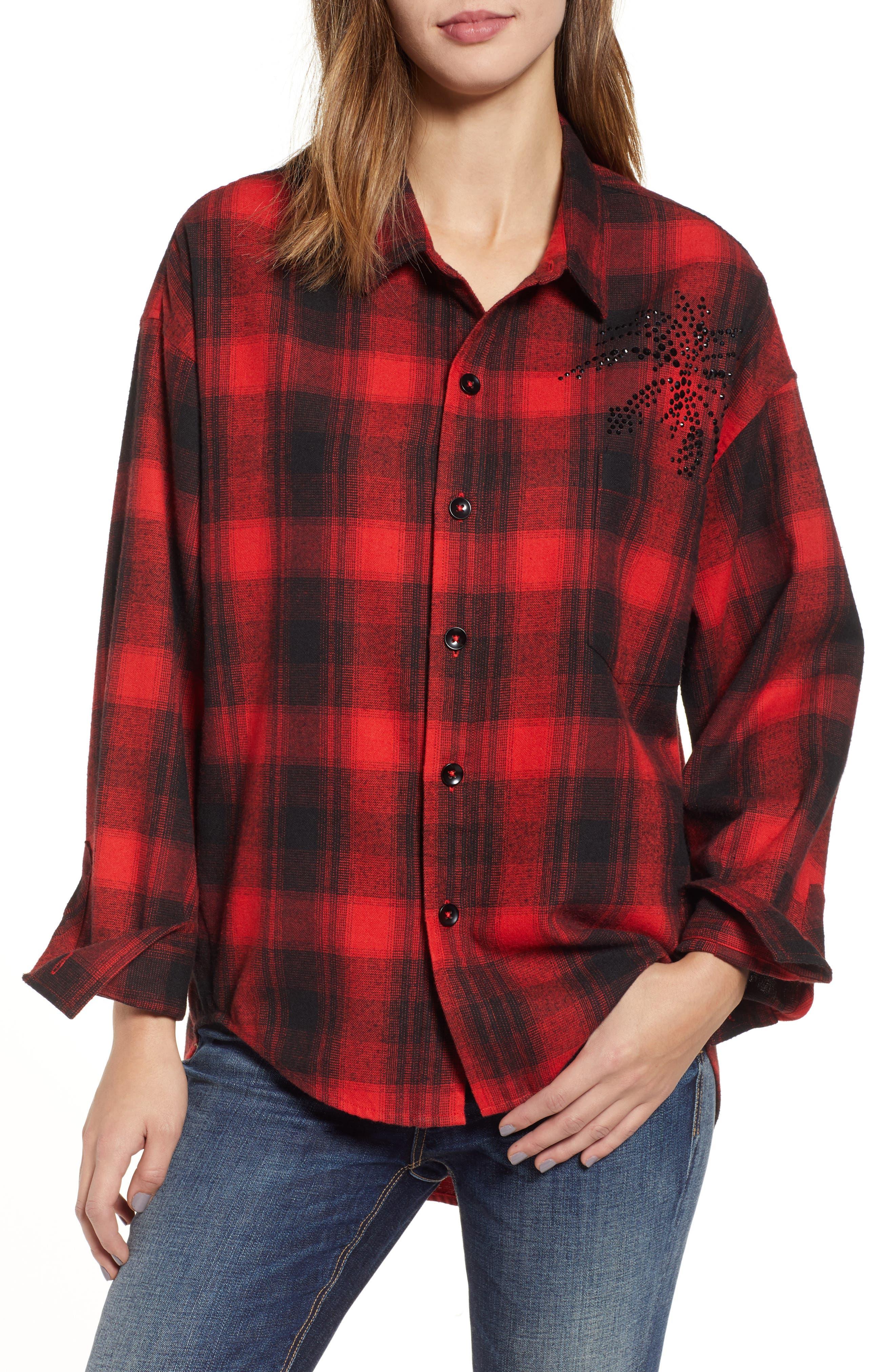 Plaid Embellished Oversize Shirt,                         Main,                         color, RED/ BLACK