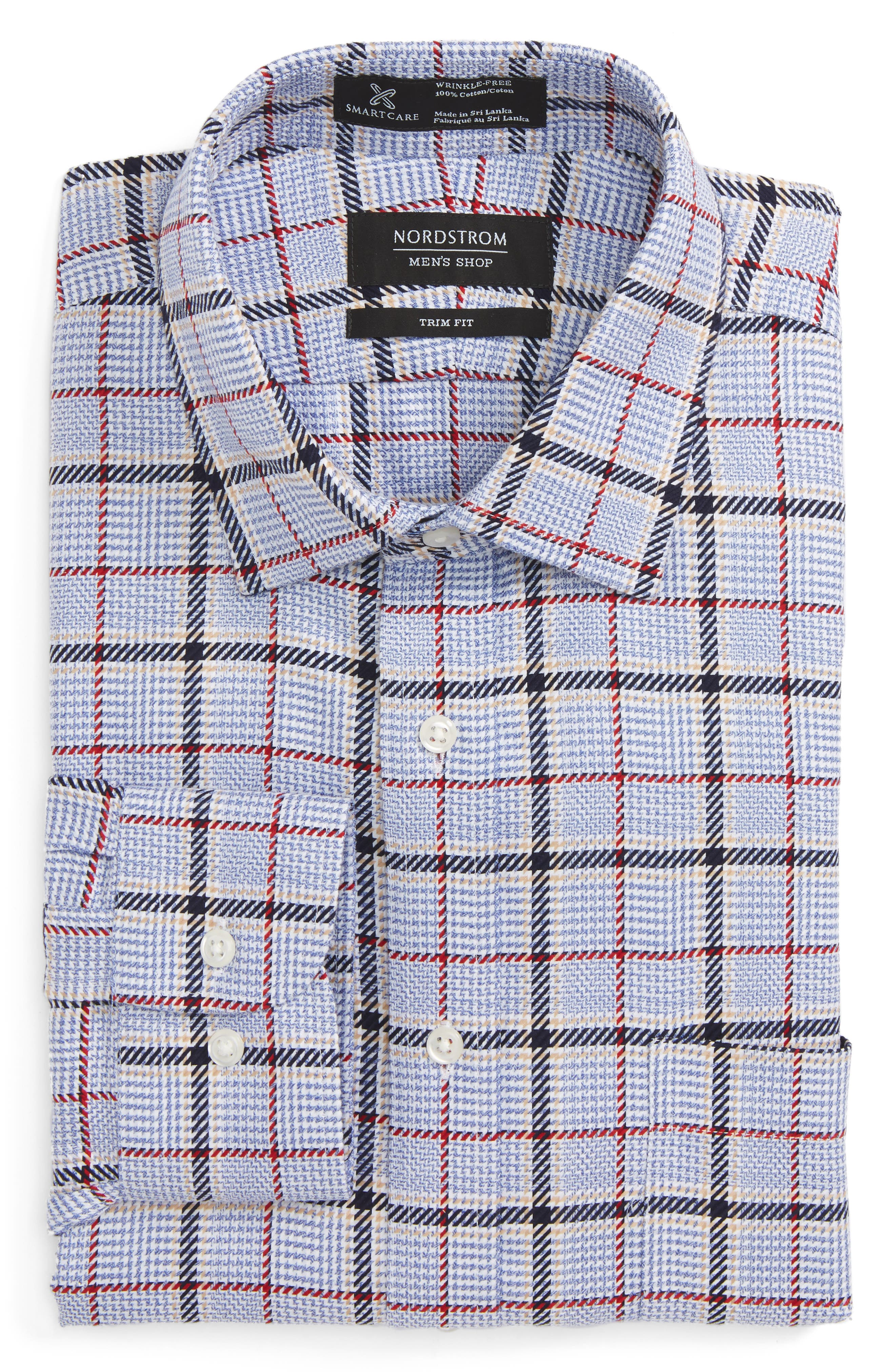 Smartcare<sup>™</sup> Trim Fit Plaid Dress Shirt,                         Main,                         color,