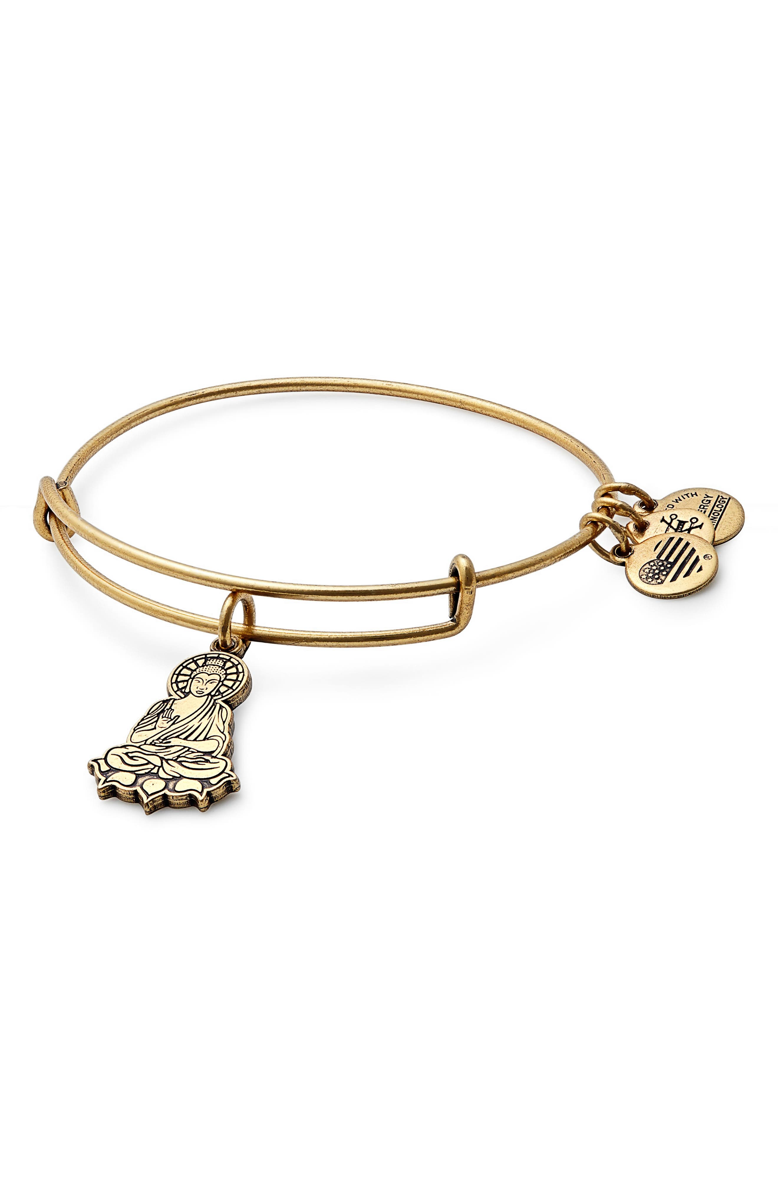 Buddha Adjustable Wire Bangle,                         Main,                         color, RUSSIAN GOLD
