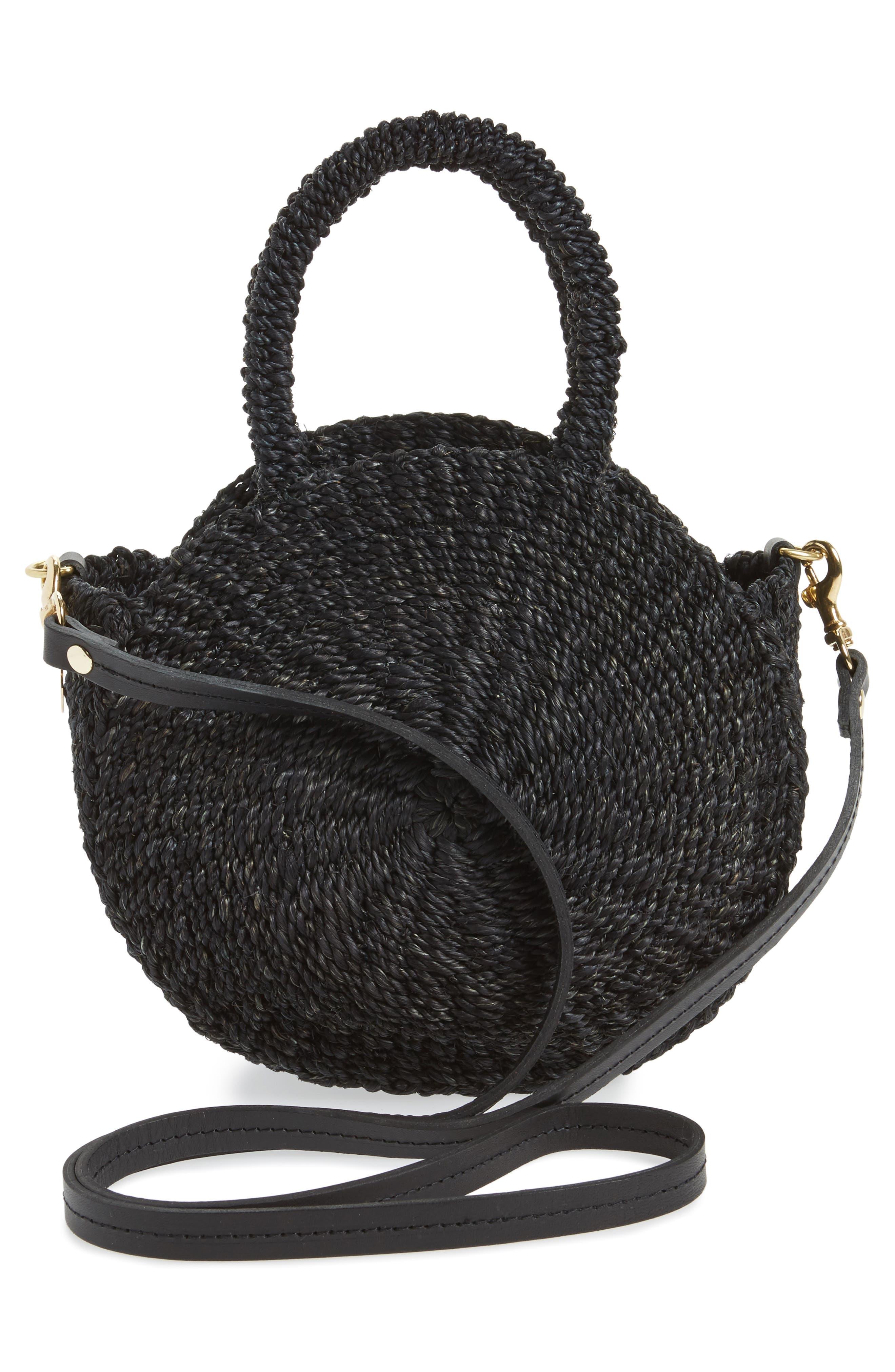 Petite Alice Straw Bag,                             Alternate thumbnail 3, color,                             BLACK WOVEN