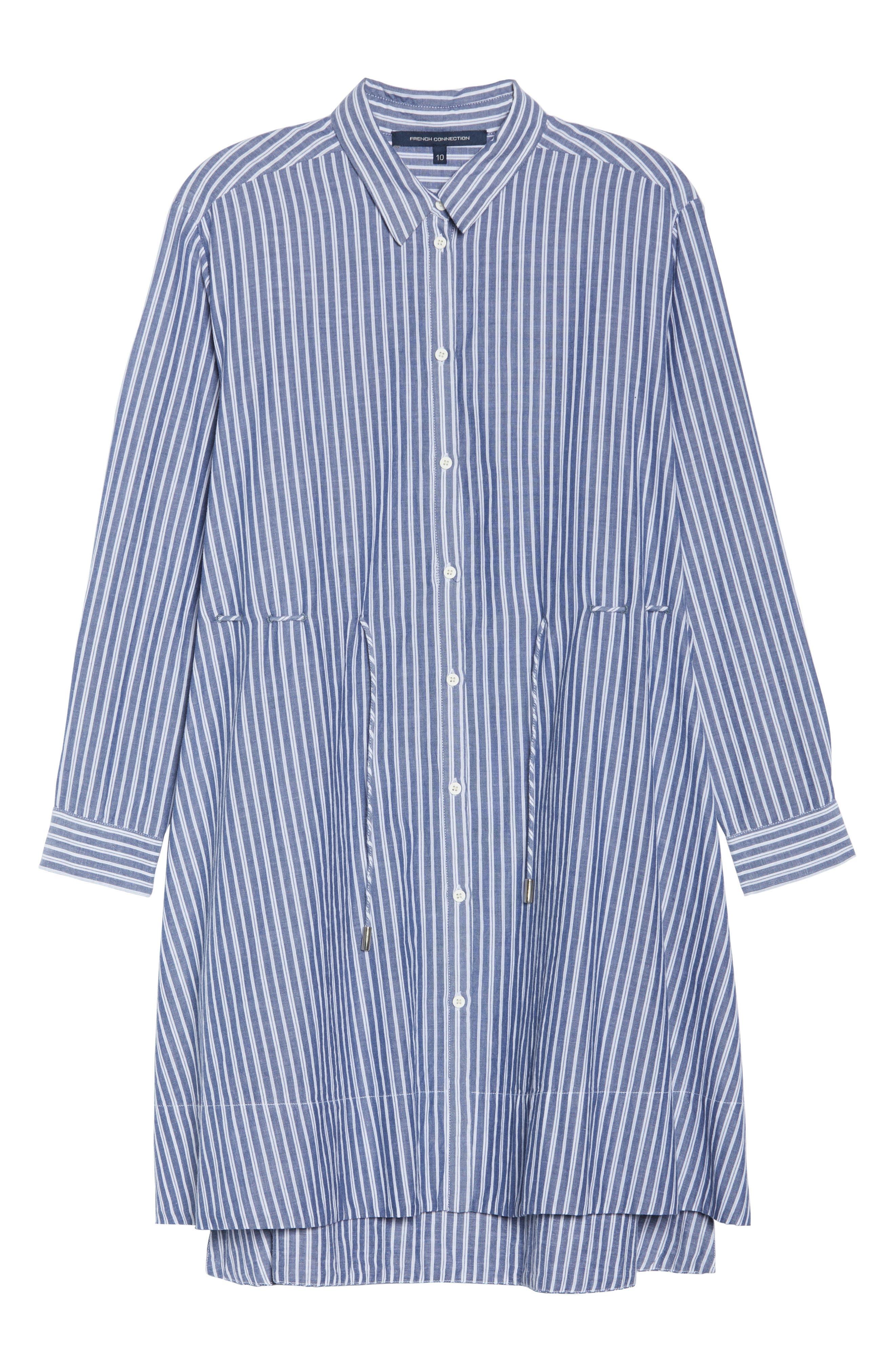 Tatus Stripe Drawstring Cotton Shirtdress,                             Alternate thumbnail 7, color,                             452
