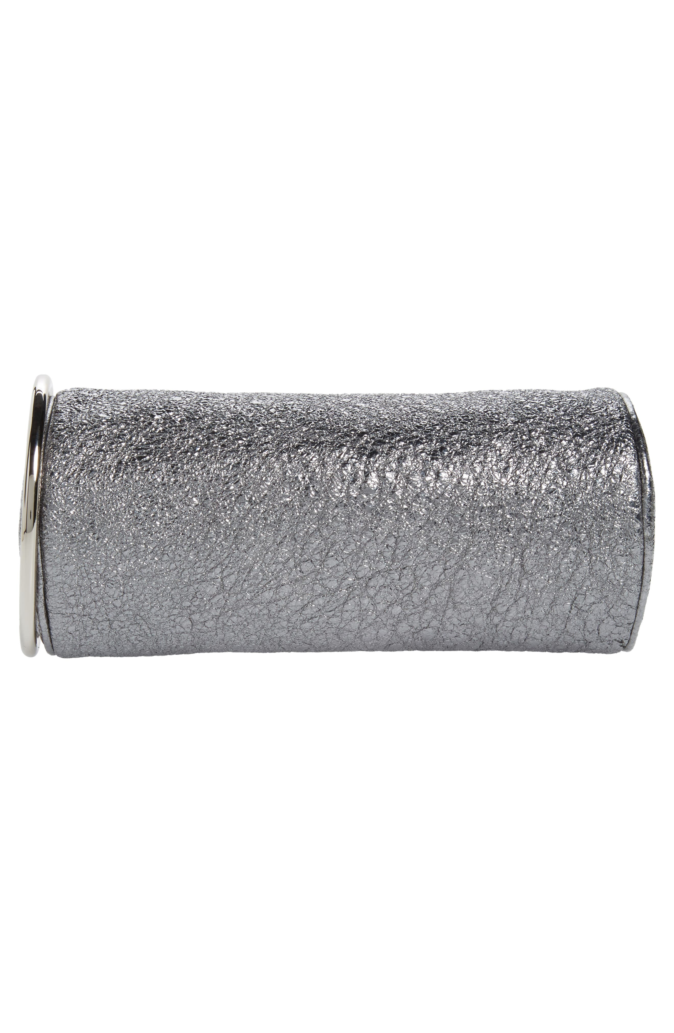 Crinkled Metallic Leather Duffel Wristlet Clutch,                             Alternate thumbnail 6, color,
