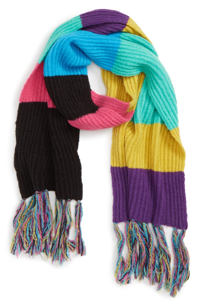Stripe Ribbed Scarf,                         Alternate,                         color, BLACK MULTI