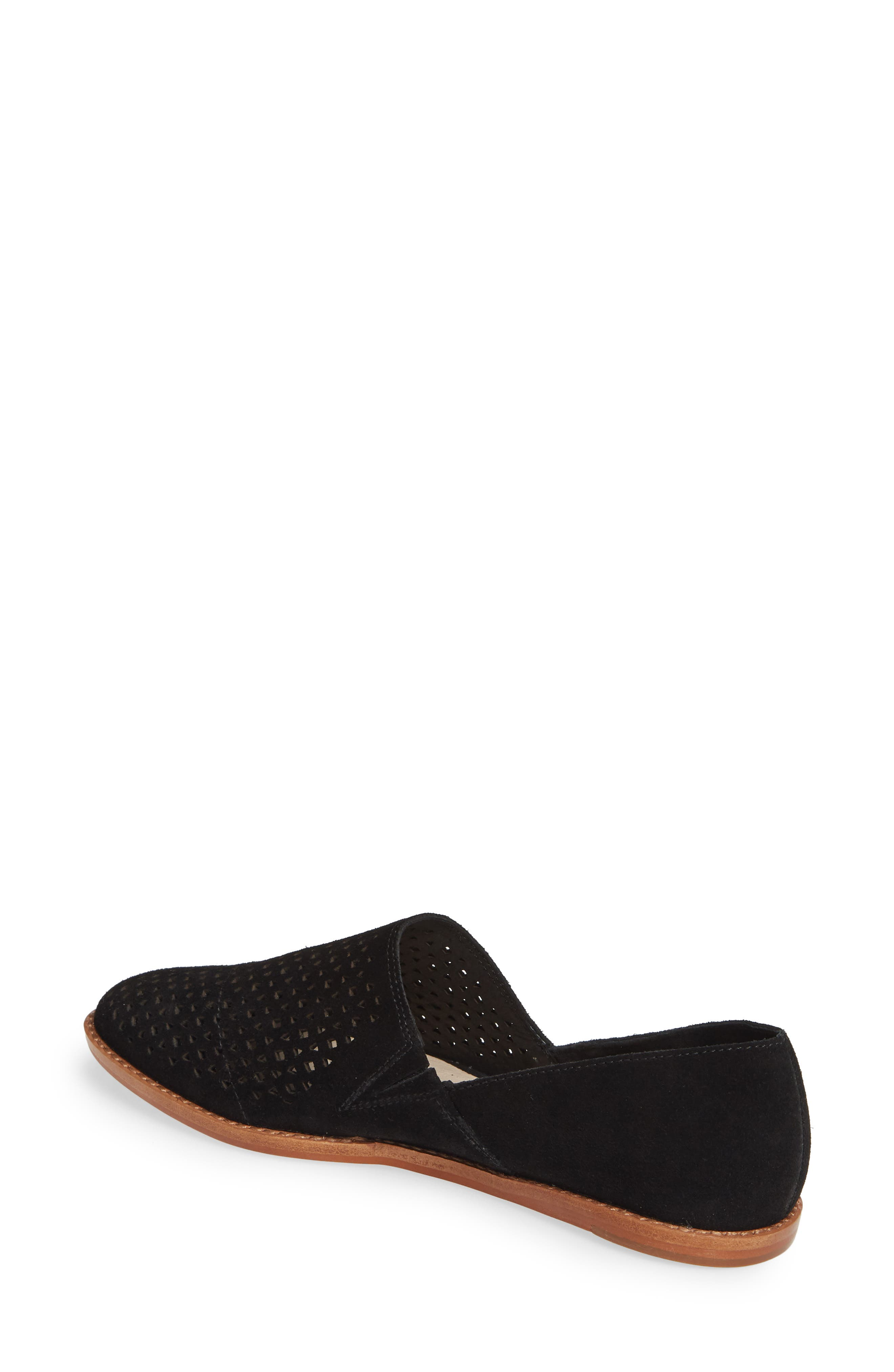 CASLON<SUP>®</SUP>,                             Adrian Perforated Flat,                             Alternate thumbnail 2, color,                             BLACK SUEDE